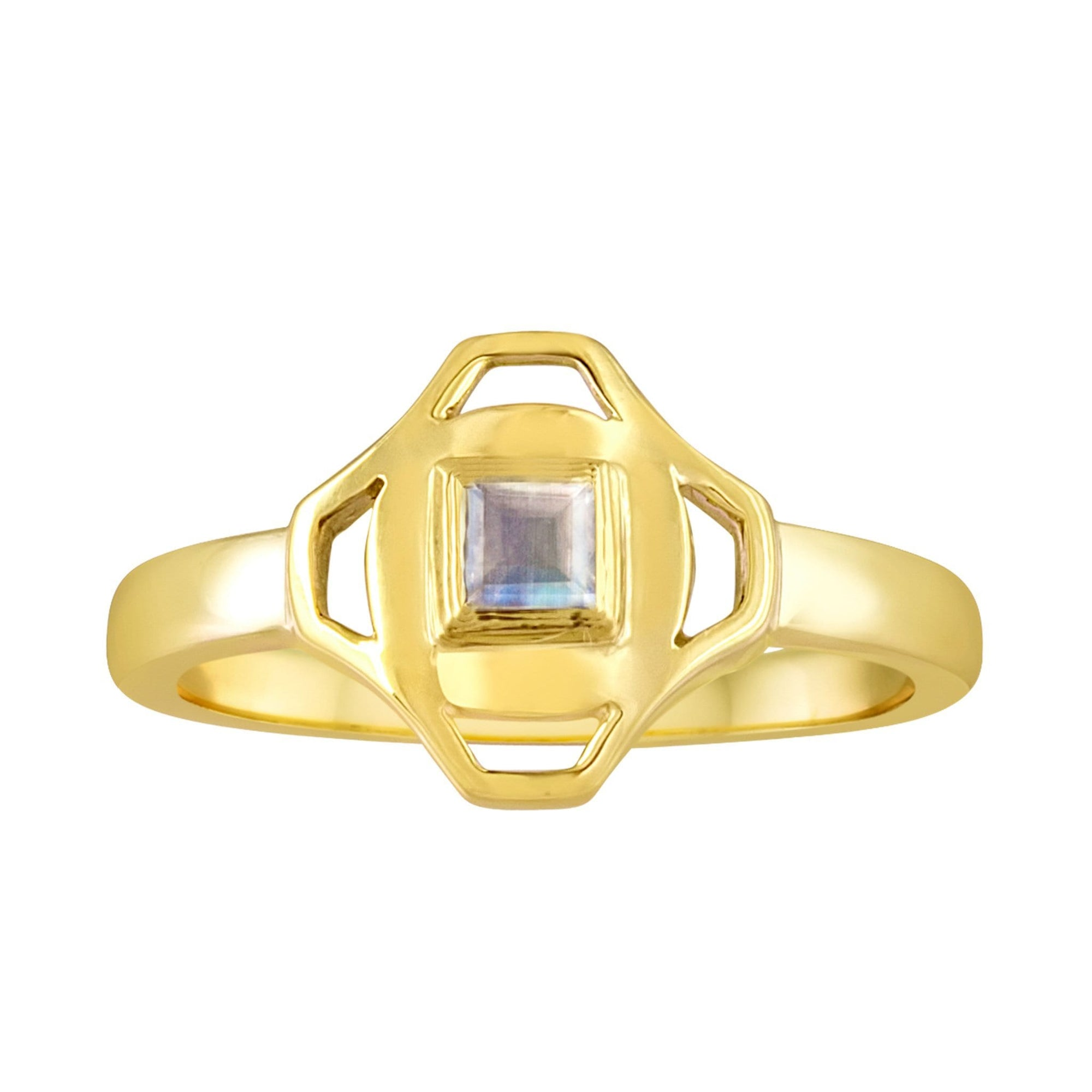 Stack Ring: 18k Gold, Square Rainbow Moonstone
