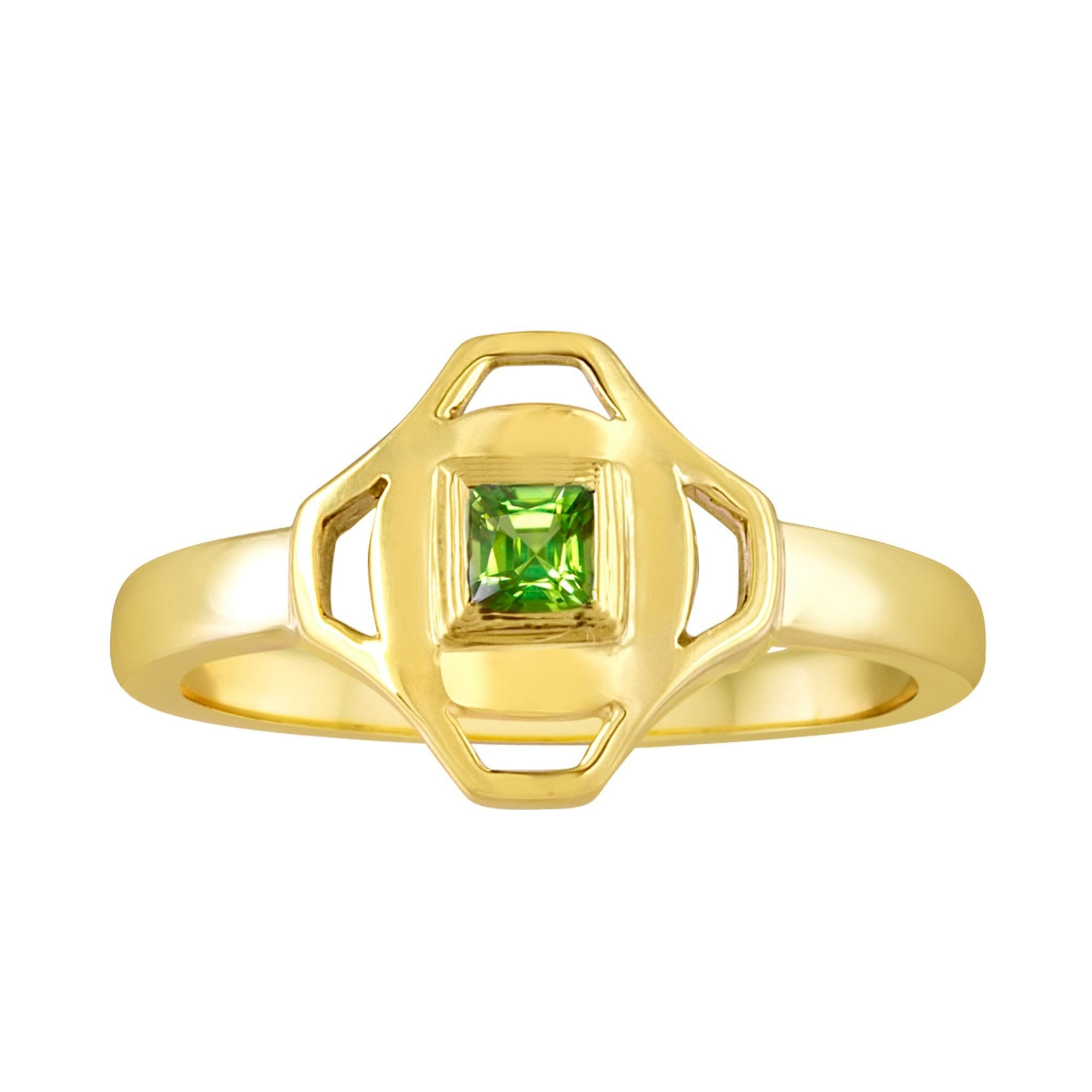 Stack Ring: 18k Gold, Square Peridot