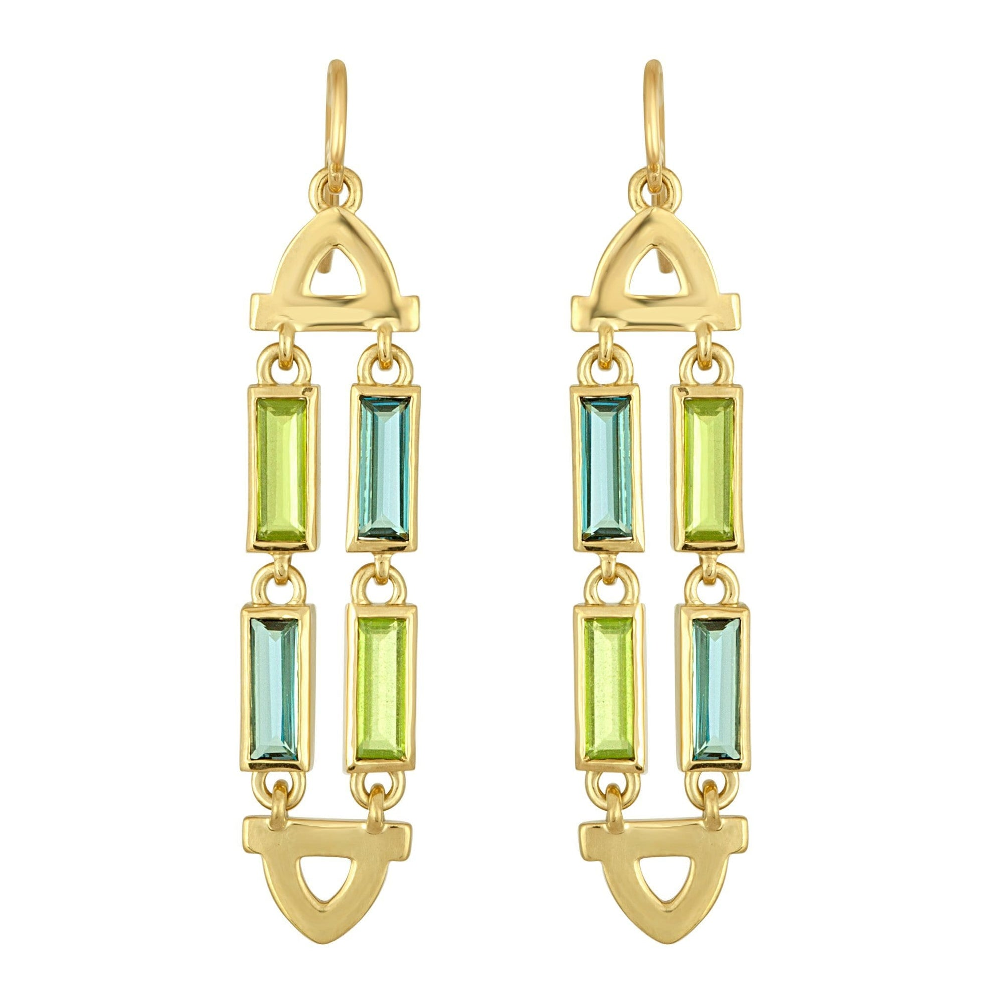 Arch Double Earrings: 18k Gold, Blue Topaz, Peridot Baguettes