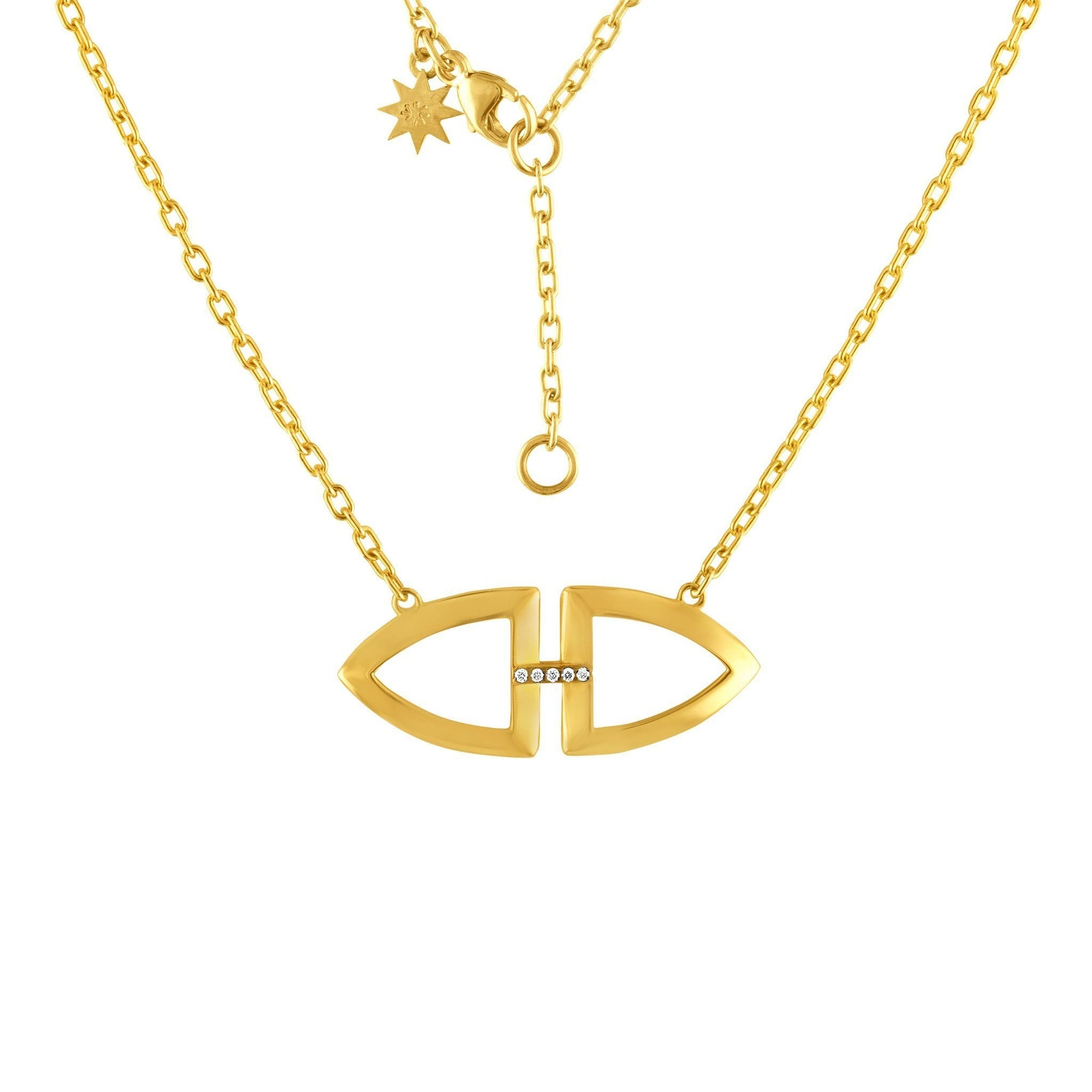 Arch Mini Pendant Necklace: 14k Gold, Diamonds