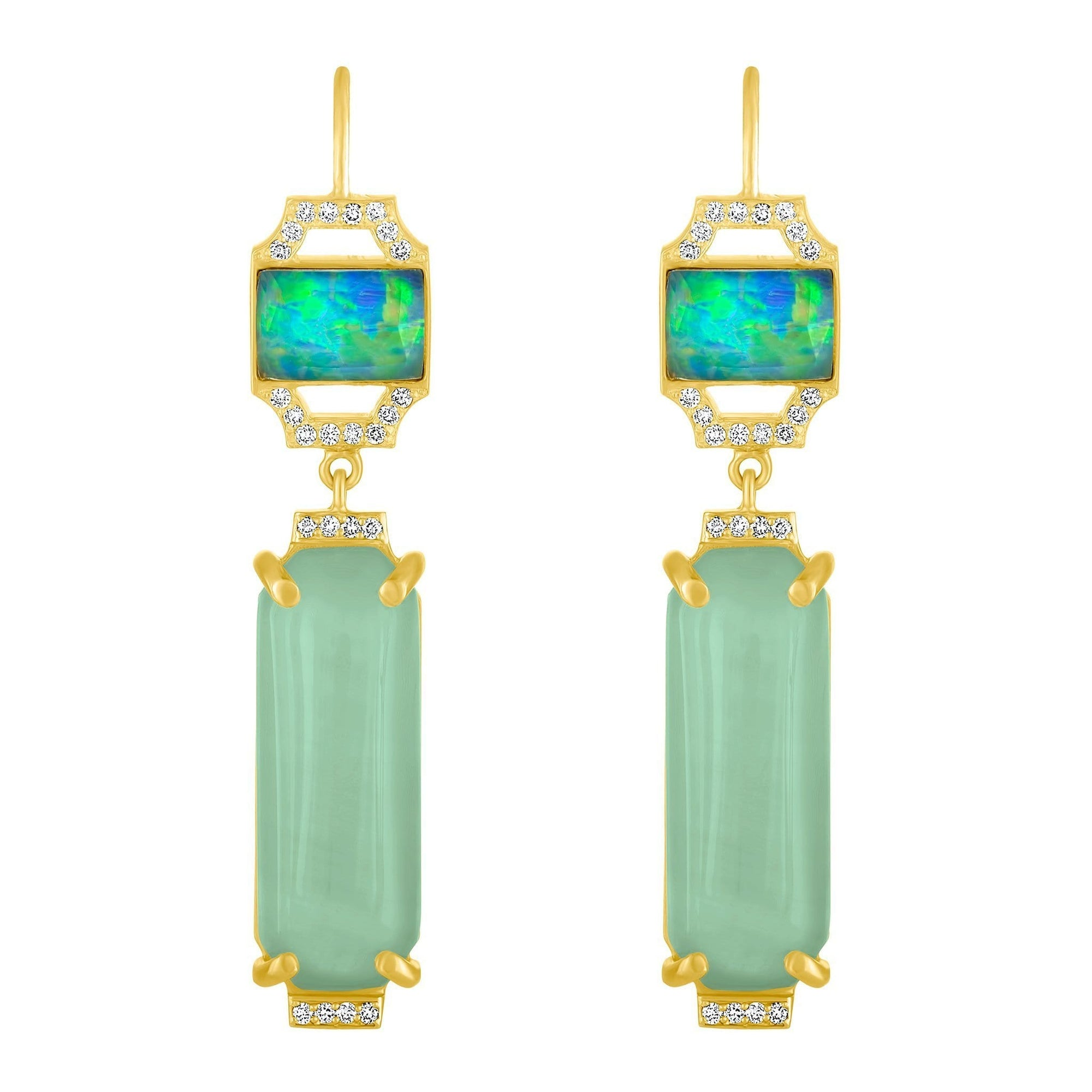 Edge Jazz Earrings: 18k Gold, Diamonds, Opal, Aquamarine, Opal