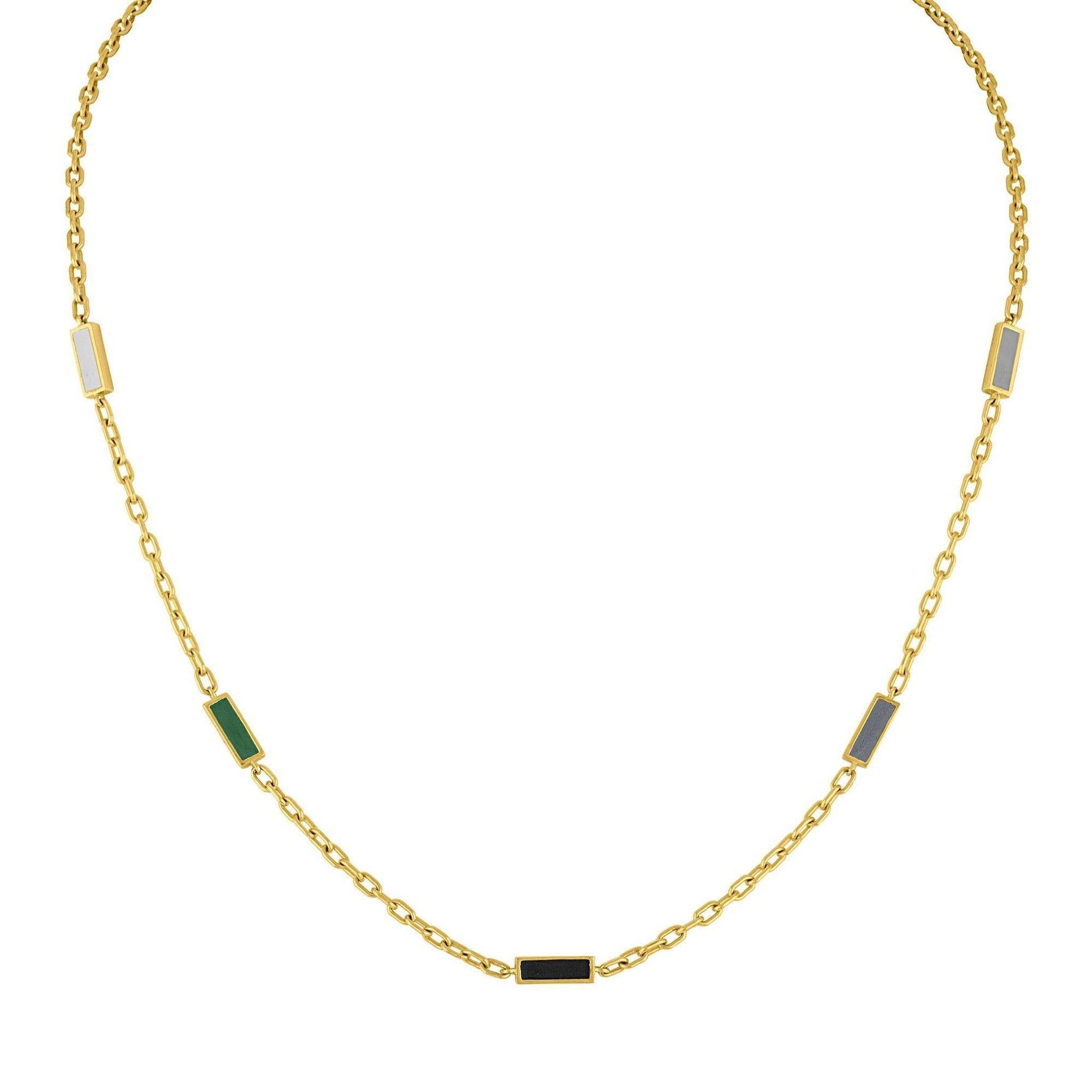 Enamel Five Baquette Necklace: 14k Gold, Enamel
