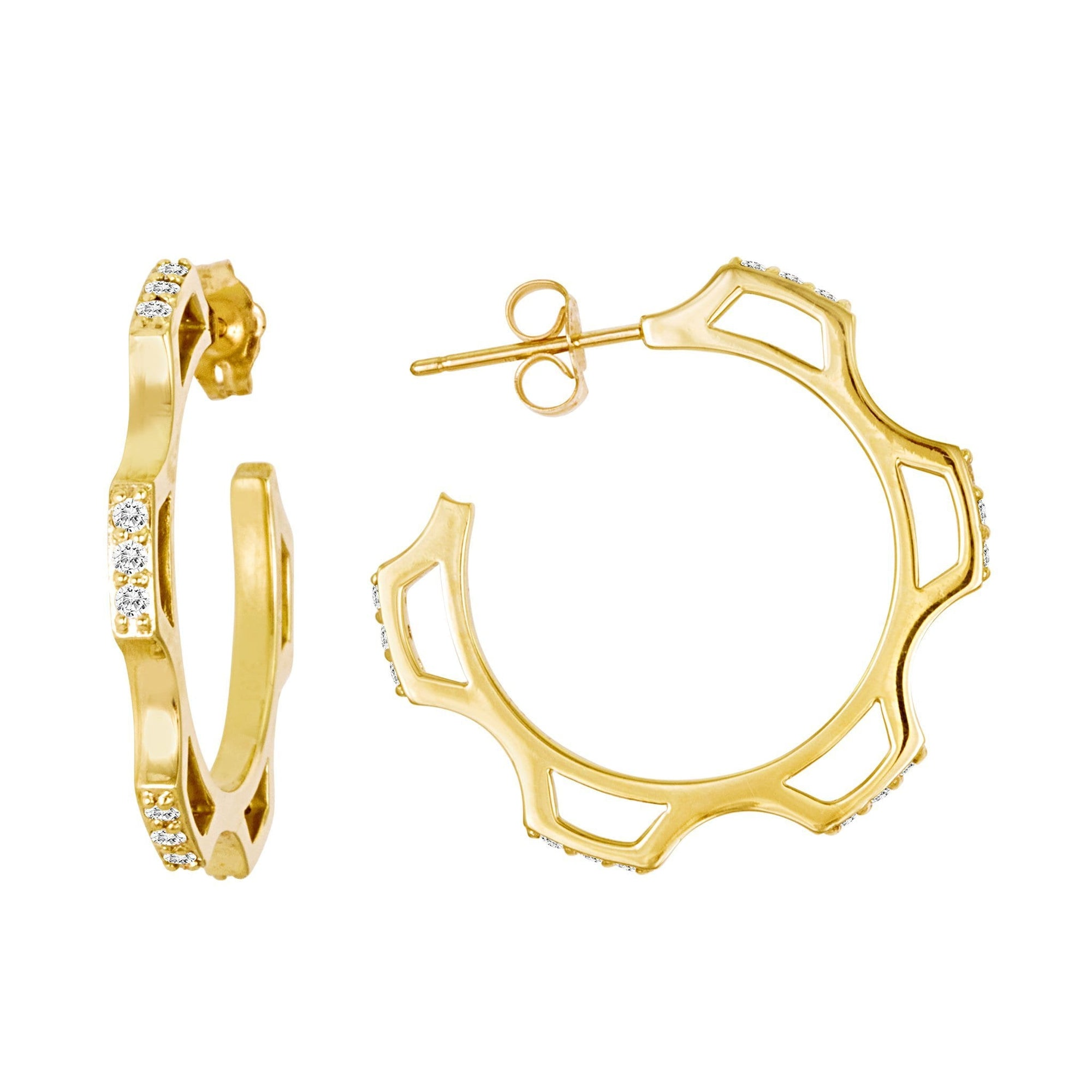 Gear Hoop Earrings: 18k Gold, Diamonds
