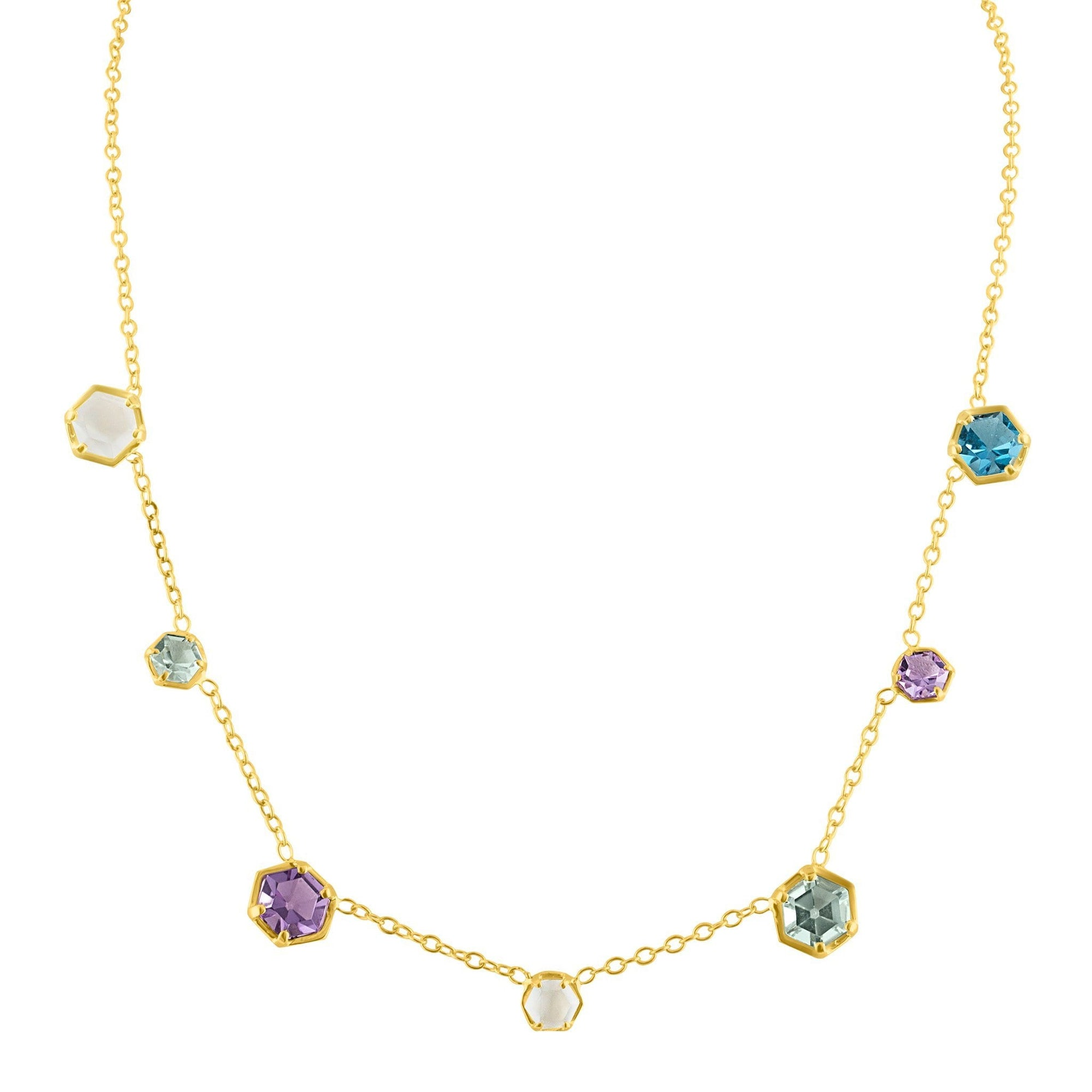 Glitter Necklace: 14k Gold, Topaz, Amethyst, Moonshine