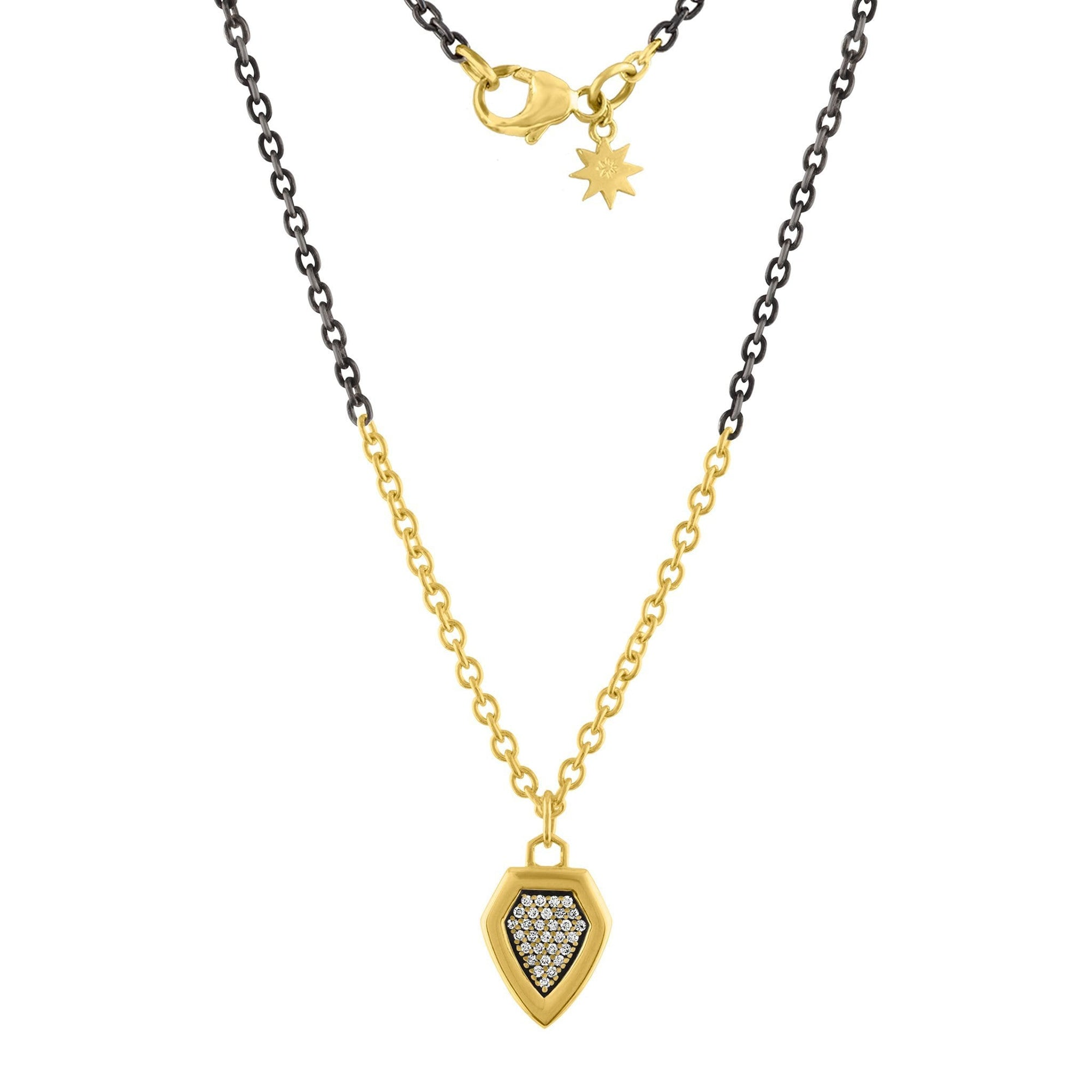 Arch Mini Shield Necklace: 14k Gold, Oxidized Silver, Diamonds