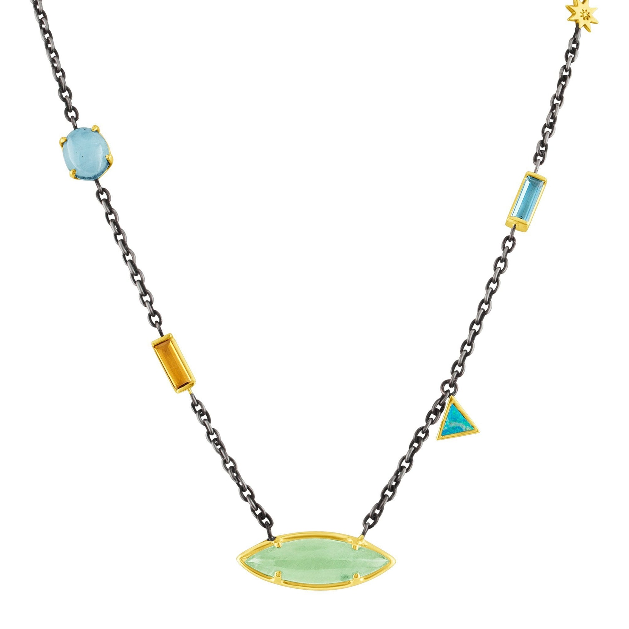 Mix Stone Necklace: 14k Gold, Silver, Aqua, London Blue, Citrine, Opal