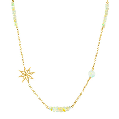 Star Necklace: 14k Gold, Ethiopian Opal