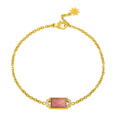 Edge Petite Bracelet: 18k Gold, Pink Opal, Diamonds