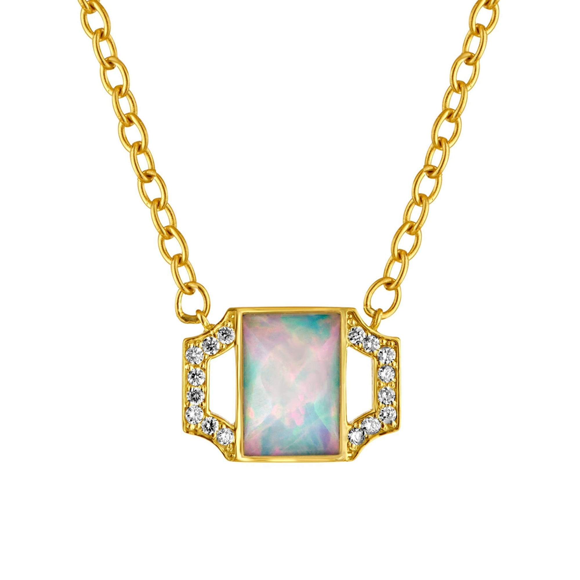 Edge Petite Pendant Necklace: 18k Gold, Opal, Diamonds