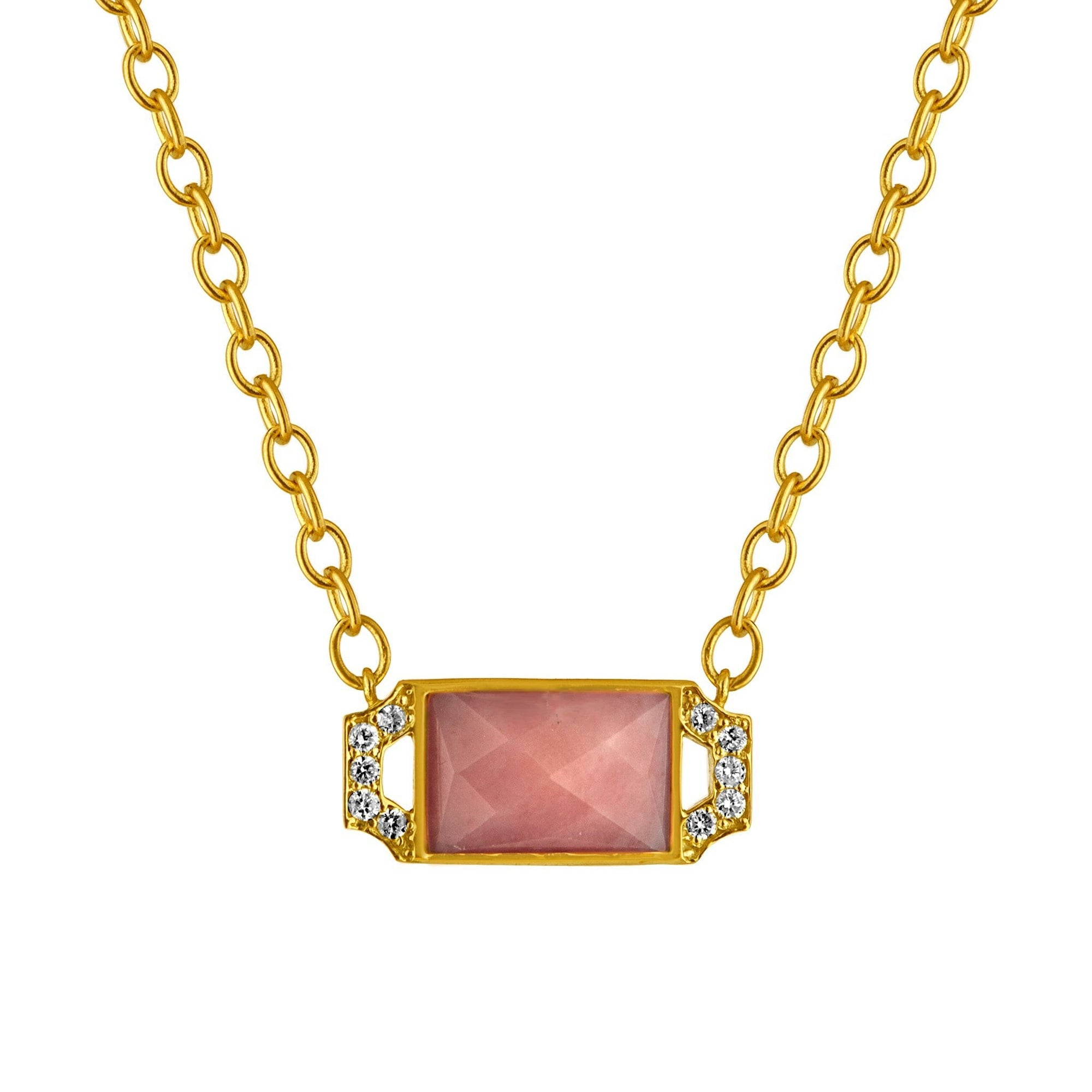 Edge Petite Pendant Necklace: 18k Gold, Pink Opal, Diamonds