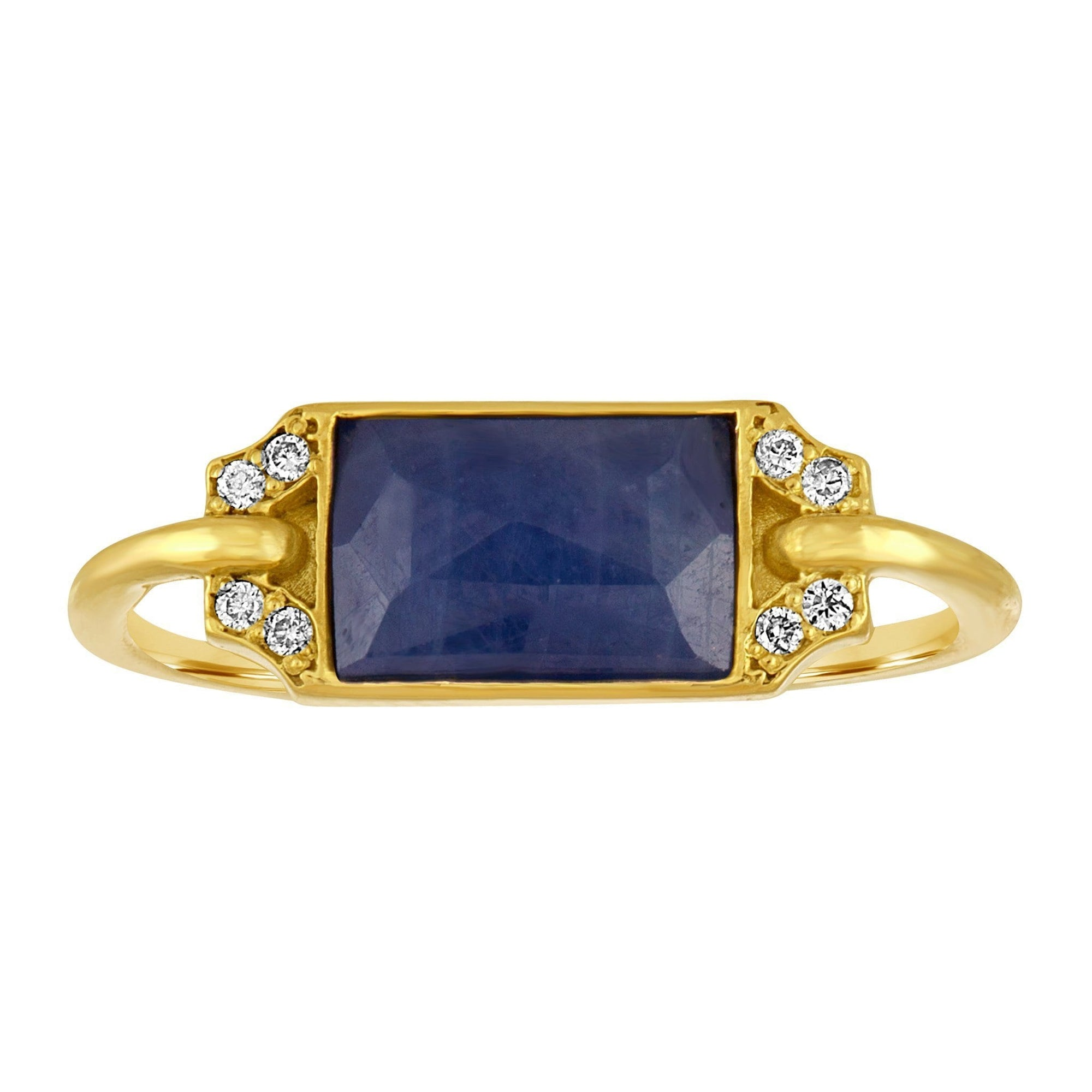 Edge Petite Ring: 18k Gold, Blue Saphire, Diamonds