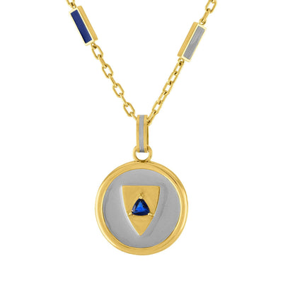 Double Enamel Baquette Necklace: 14k Gold, Enamel