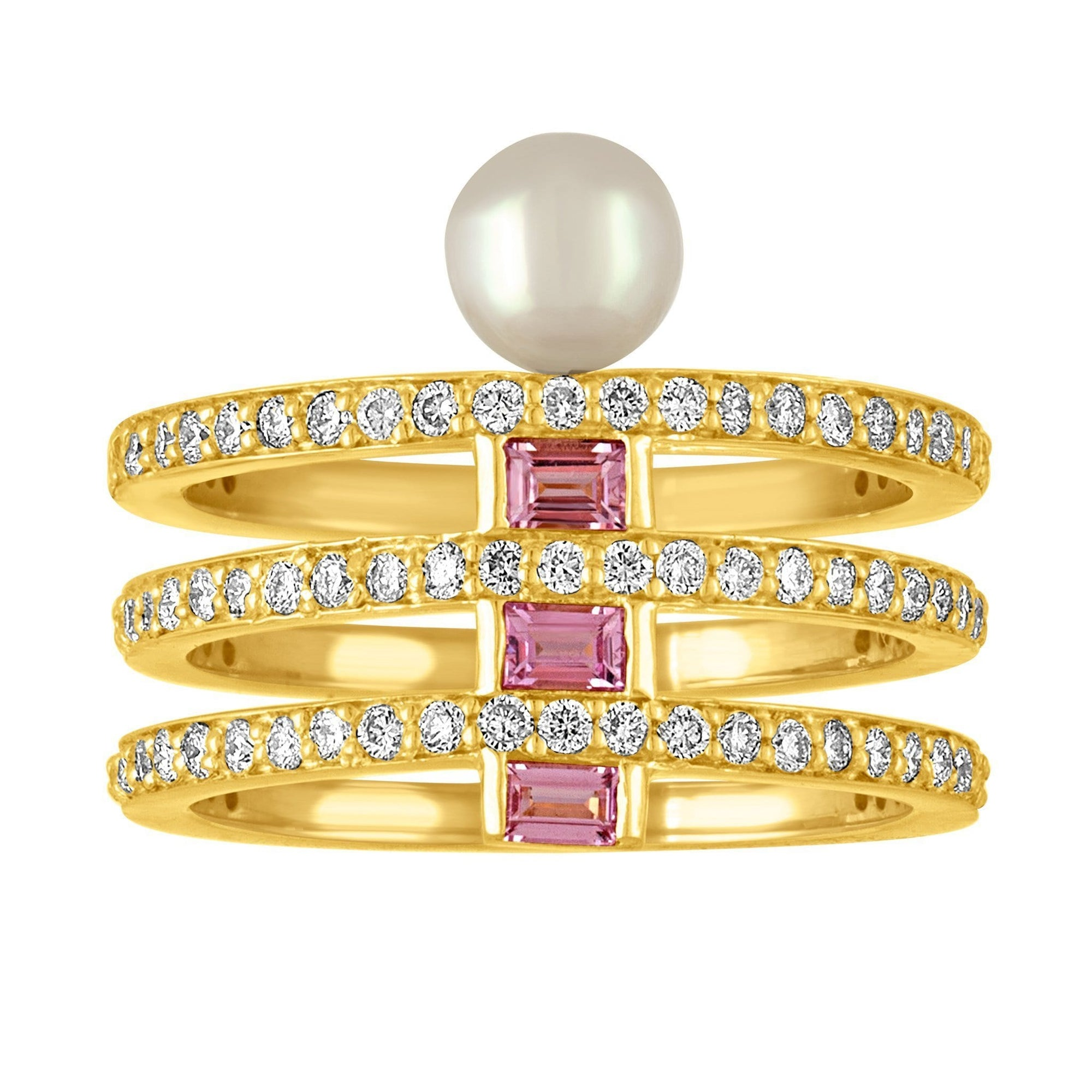 Claire Ring: 18k Gold, Diamonds, Pink Sapphire Baguettes, White Akoya Pearl