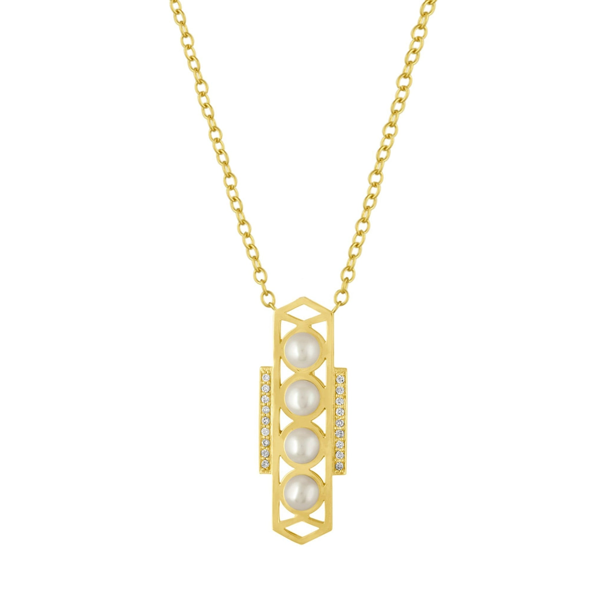 Cosmo Pendant Necklace: 18k Gold, White Pearls