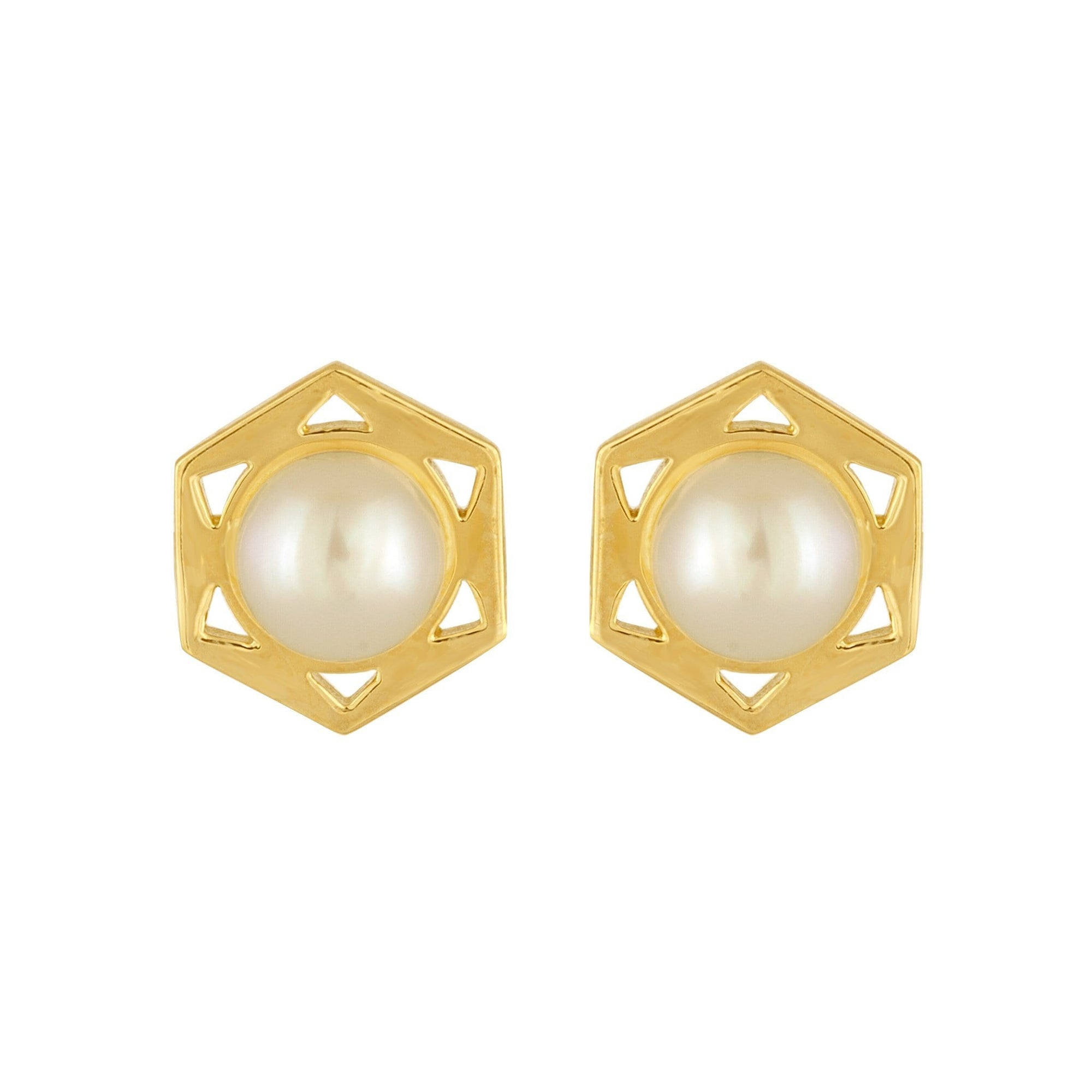 Cosmo Stud Earrings: 18k Gold, Pearls