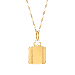 Small 'Between the Lines' Pillow Locket in 18K Gold
