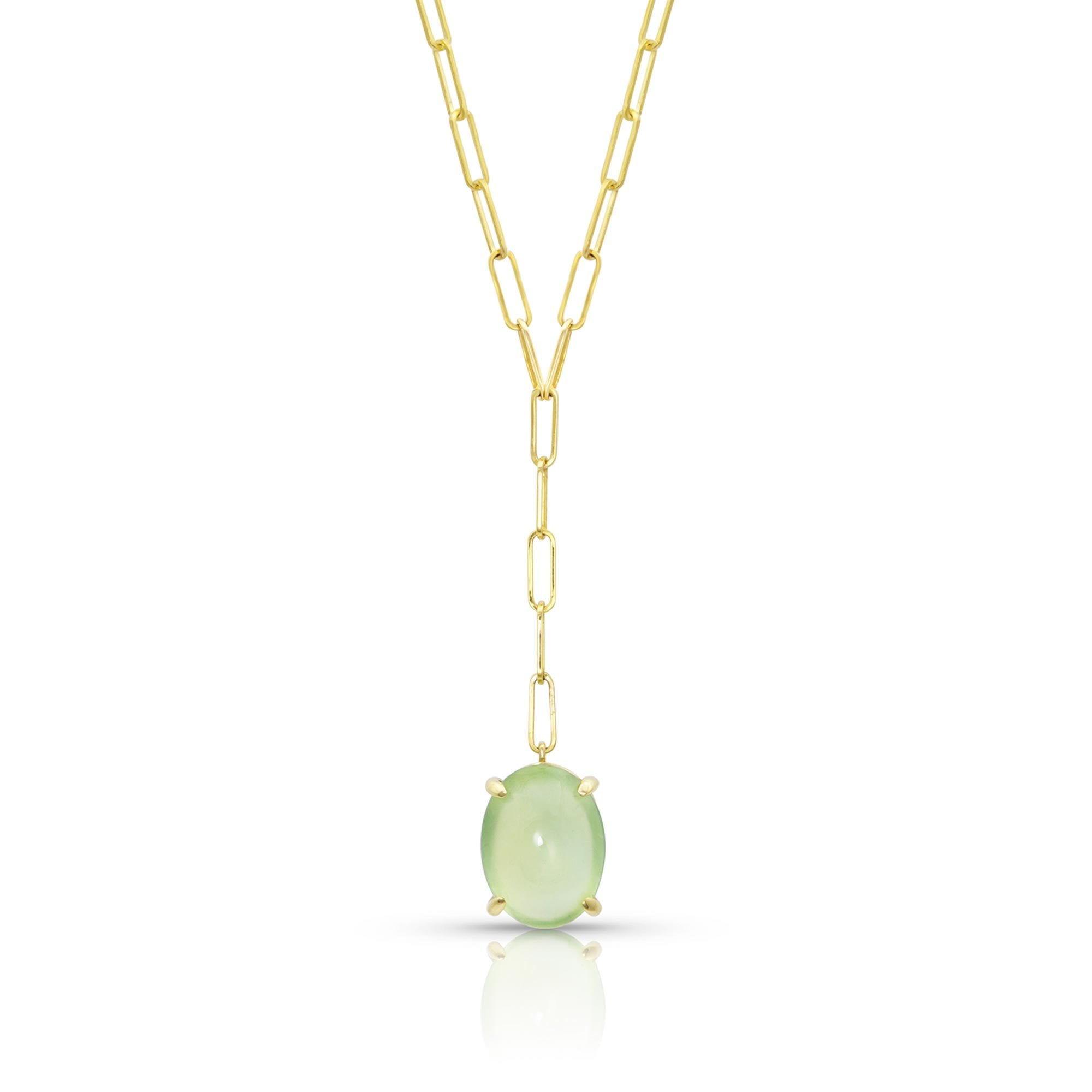 Vincents Fine Jewelry | M. Spalten | Gemdrop Prehnite Lariat Necklace