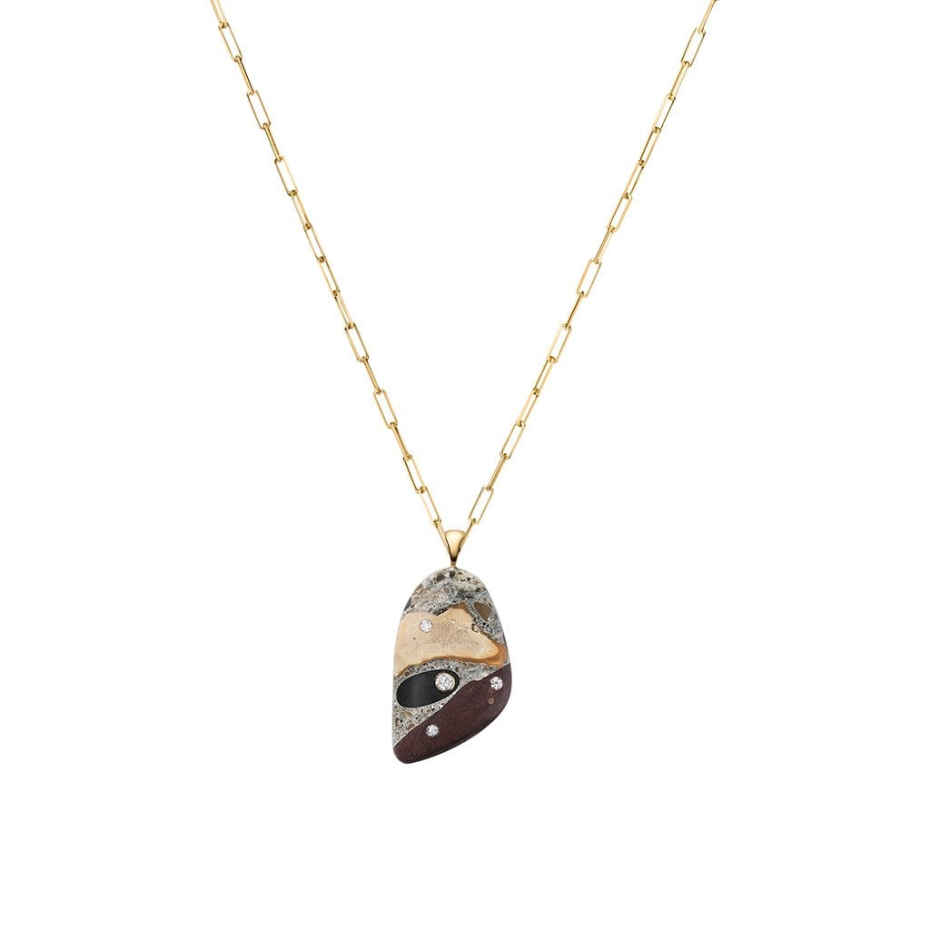 Ancient Sands Pebble & Diamond Pendant