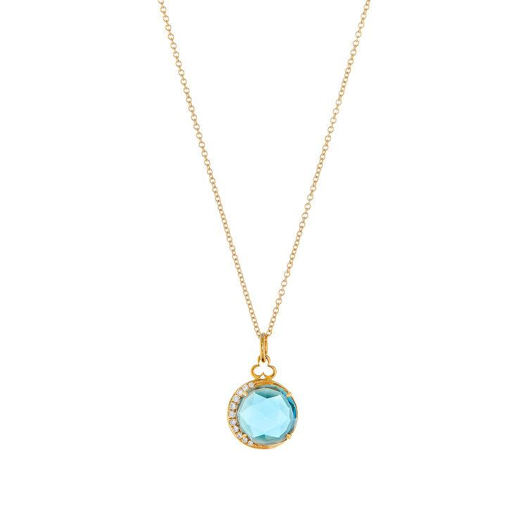 Devon Woodhill | Moon Charm Necklace | London Blue Topaz