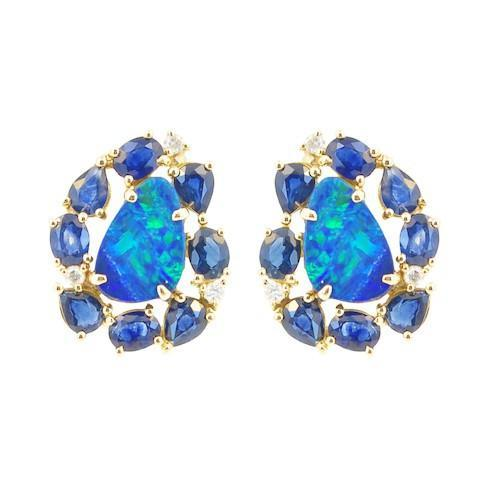 Vincents Fine Jewelry | Jane Kaye | Mixed Media Opal & Sapphire Studs