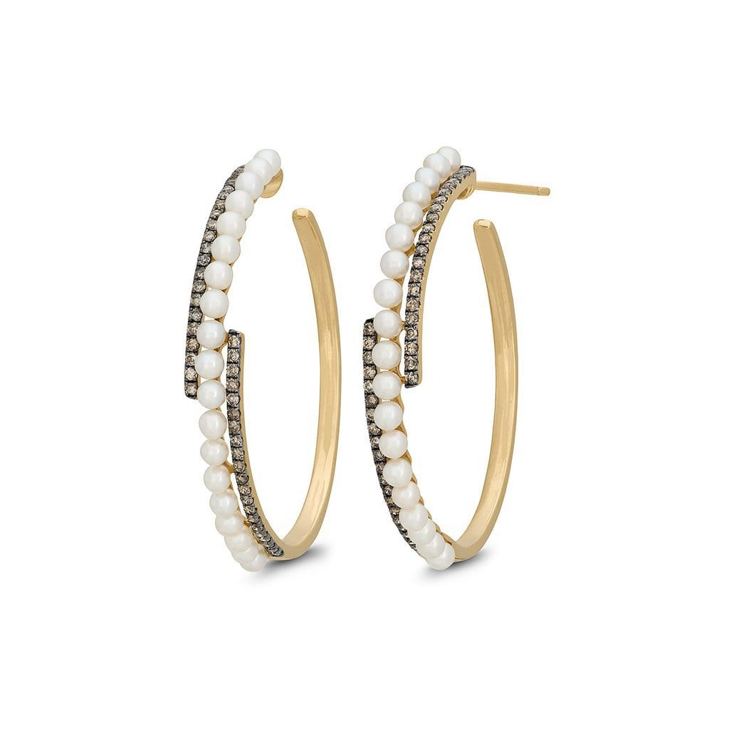 Vincents Fine Jewelry | Jane Kaye | Champagne Diamond & Pearl Hoops