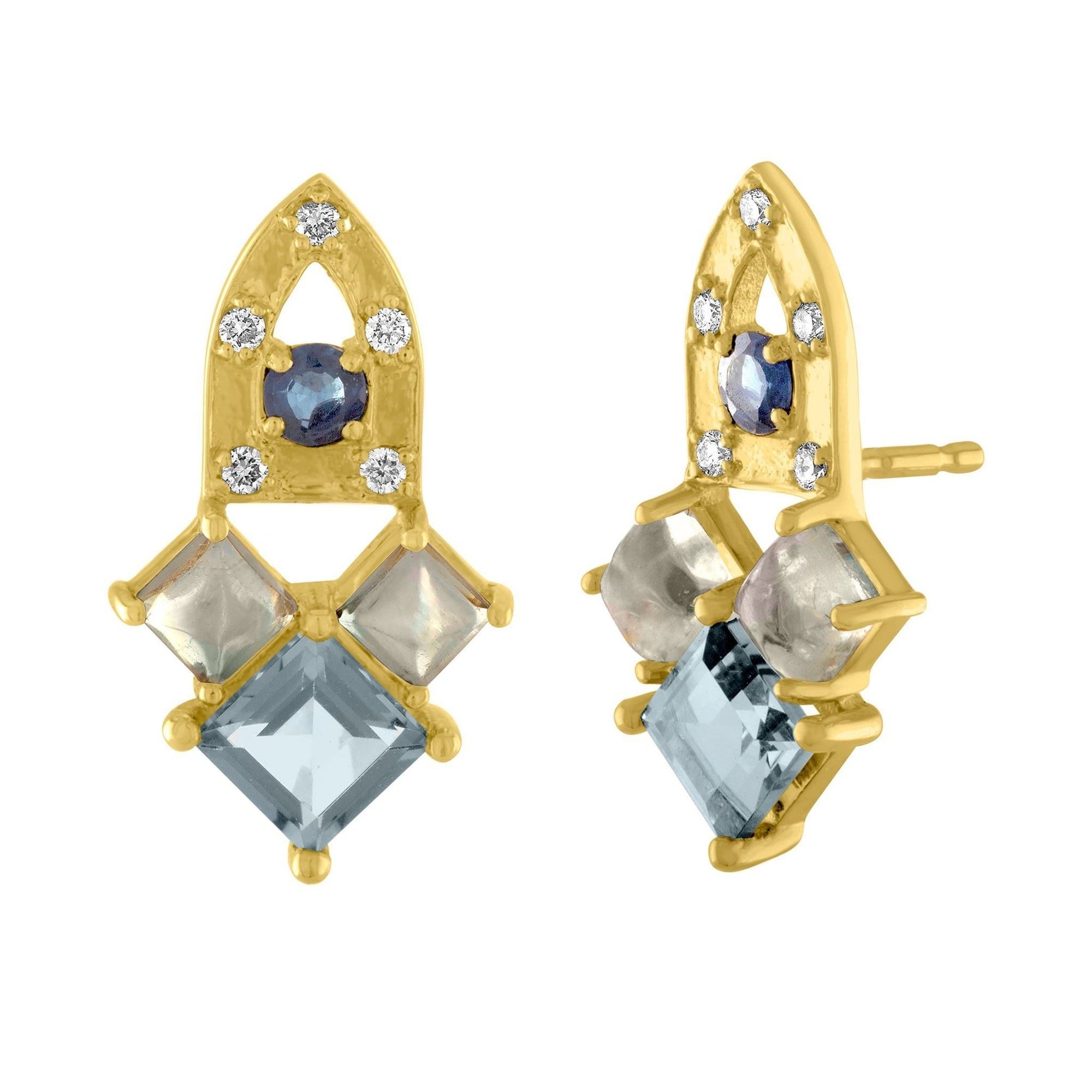 Arch Stud Earrings: 14k Gold, Blue Aapphire, London Blue Topaz, Moonstone, Diamonds