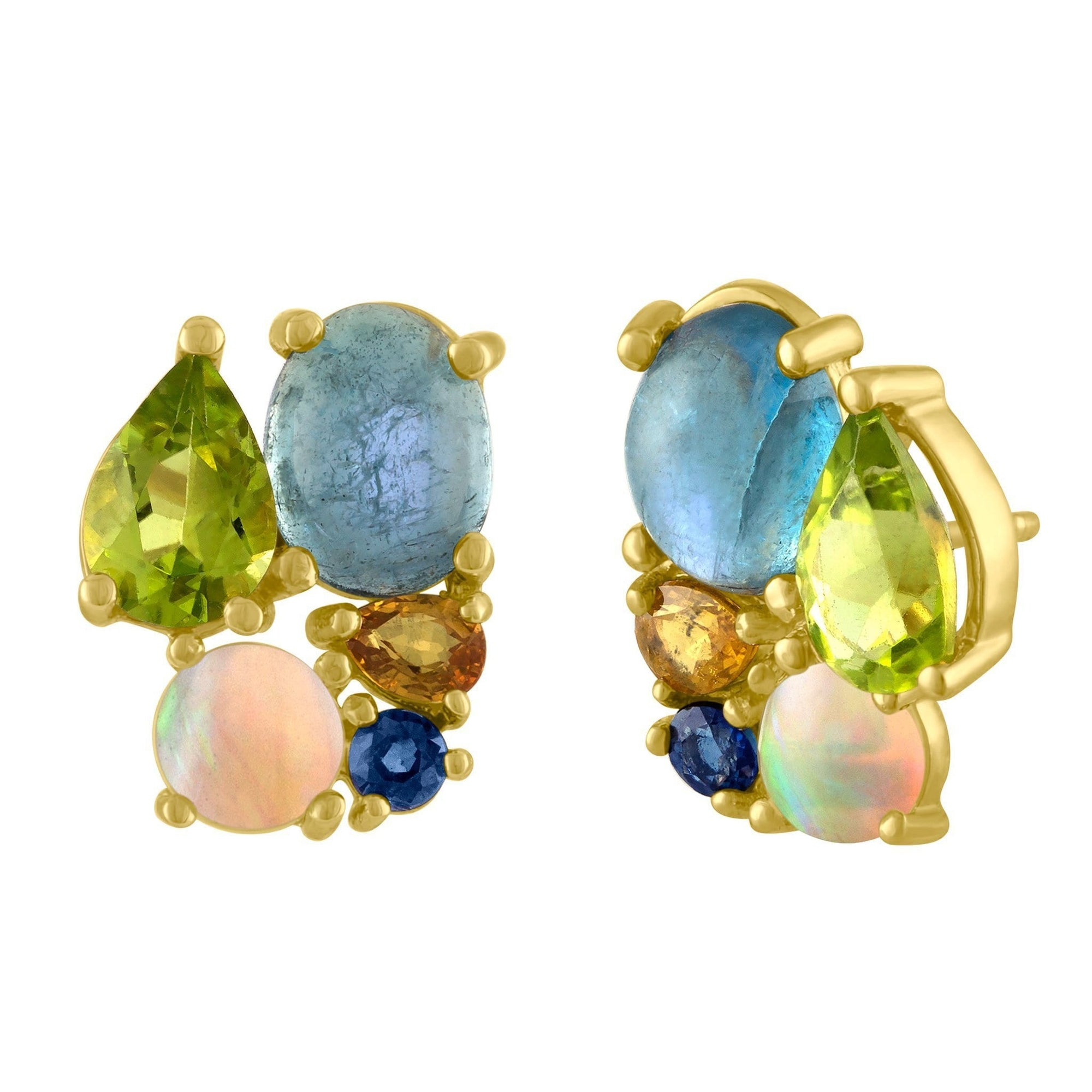 Bon Bon Stud Earrings: 14k Gold, Peridot, Acqua, Opal, Yellow Pear Sapphire, Blue Sapphire