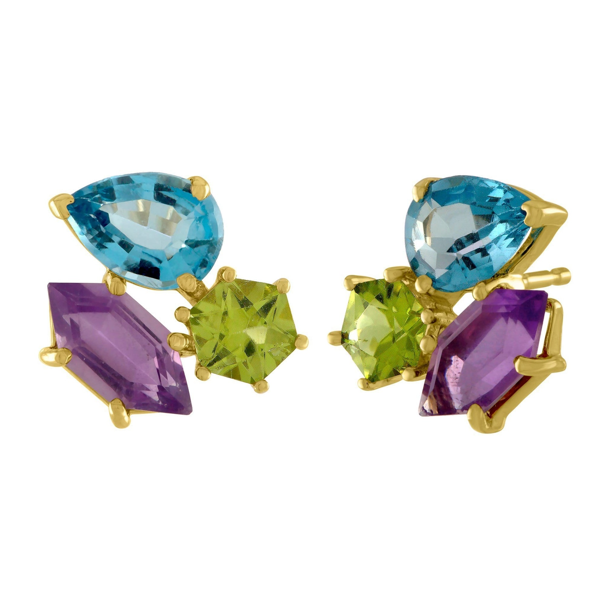 Candyland Stud Earrings: 14k Gold, Peridot, London Blue Topaz, Amethyst Kites