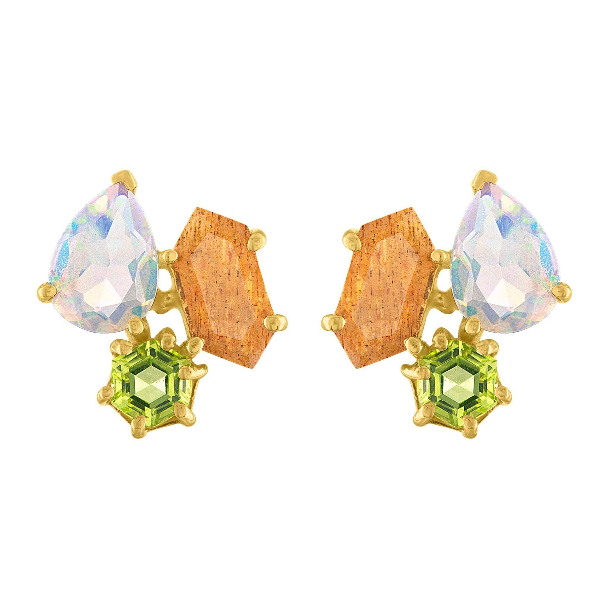 Candyland Stud Earrings: 14k Gold, Peridot Opal, Sunstone Kites
