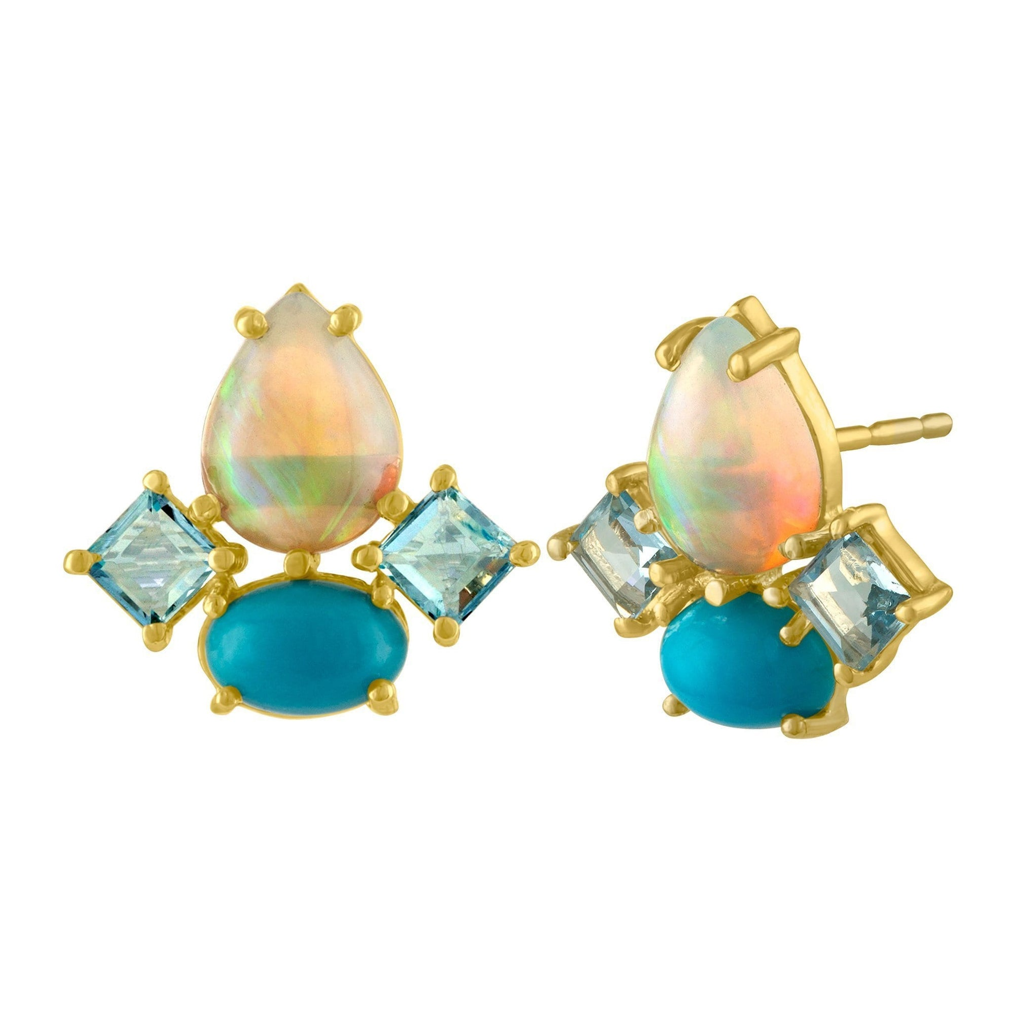 Dolce Stud Earrings: 14k Gold, Opal, Turquoise, Acquamarine