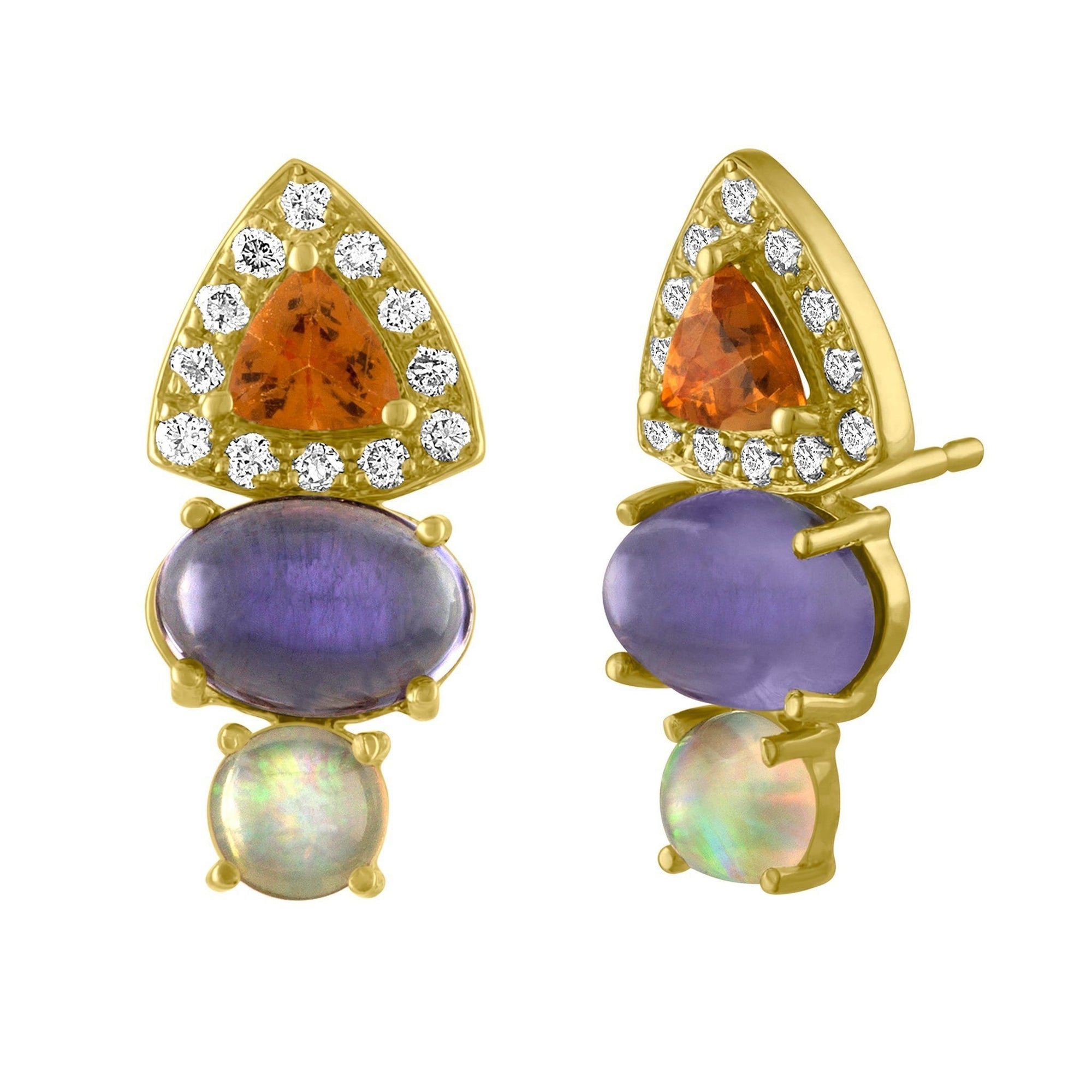Linea Stud Earrings: 14k Gold, Spessartite Trillions, Tanzanite, Opal