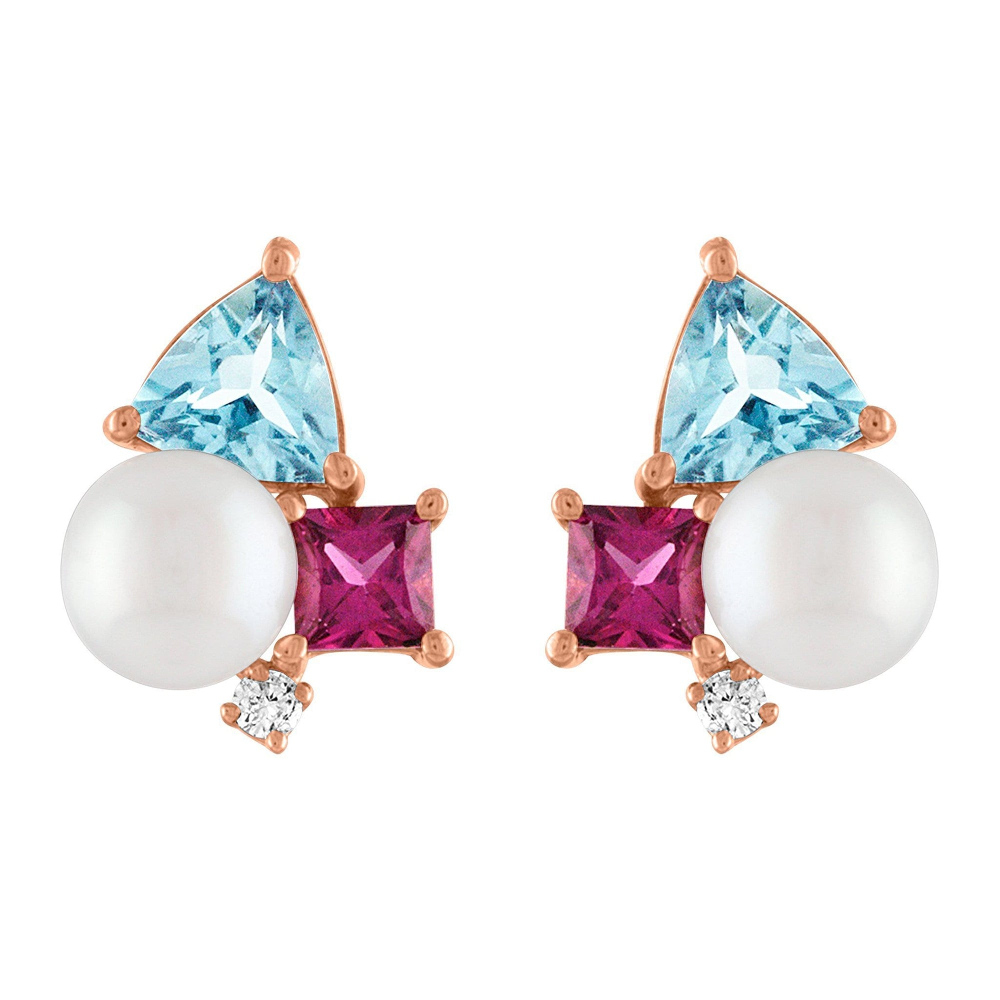 Luna Stud Earrings: 14k Rose Gold, Pearl, Blue Topaz, Rhodolite, Diamonds