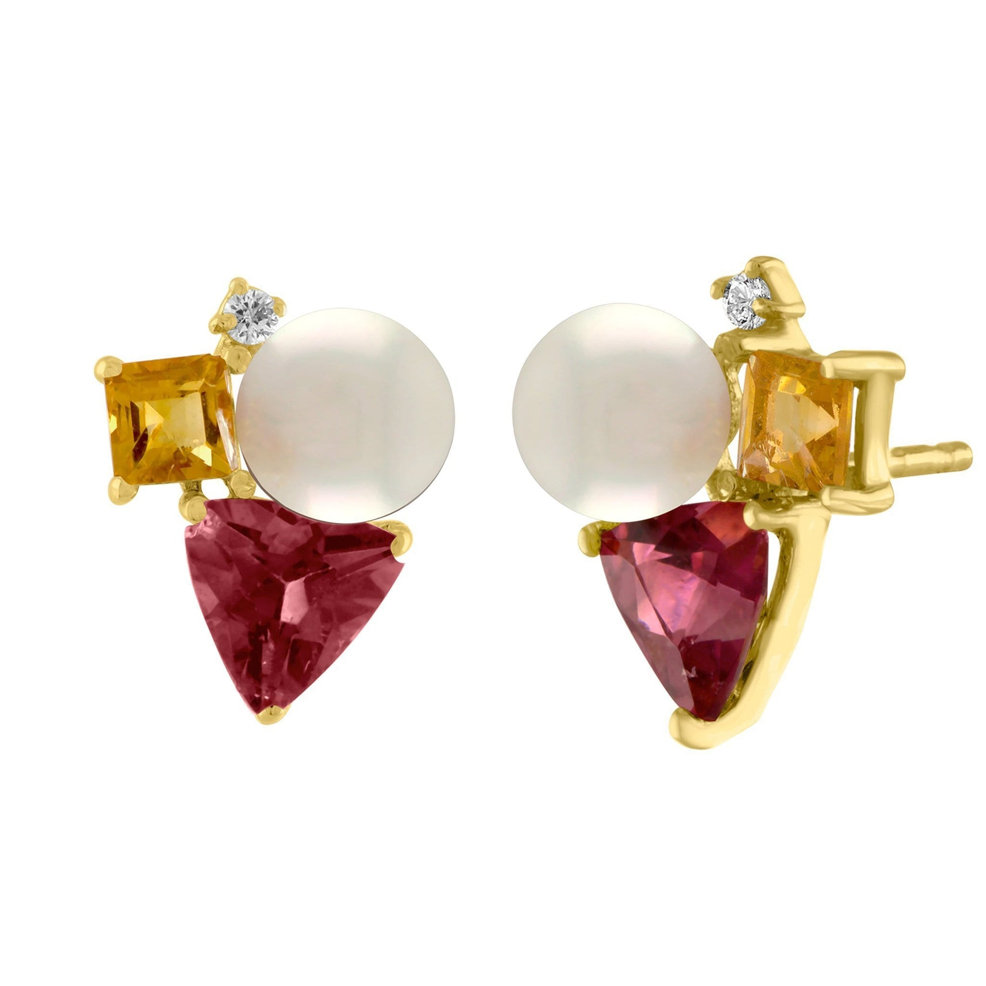Luna Stud Earrings: 14k Rose Gold, Pearl, Pink Tourmaline, Citrine, Diamonds