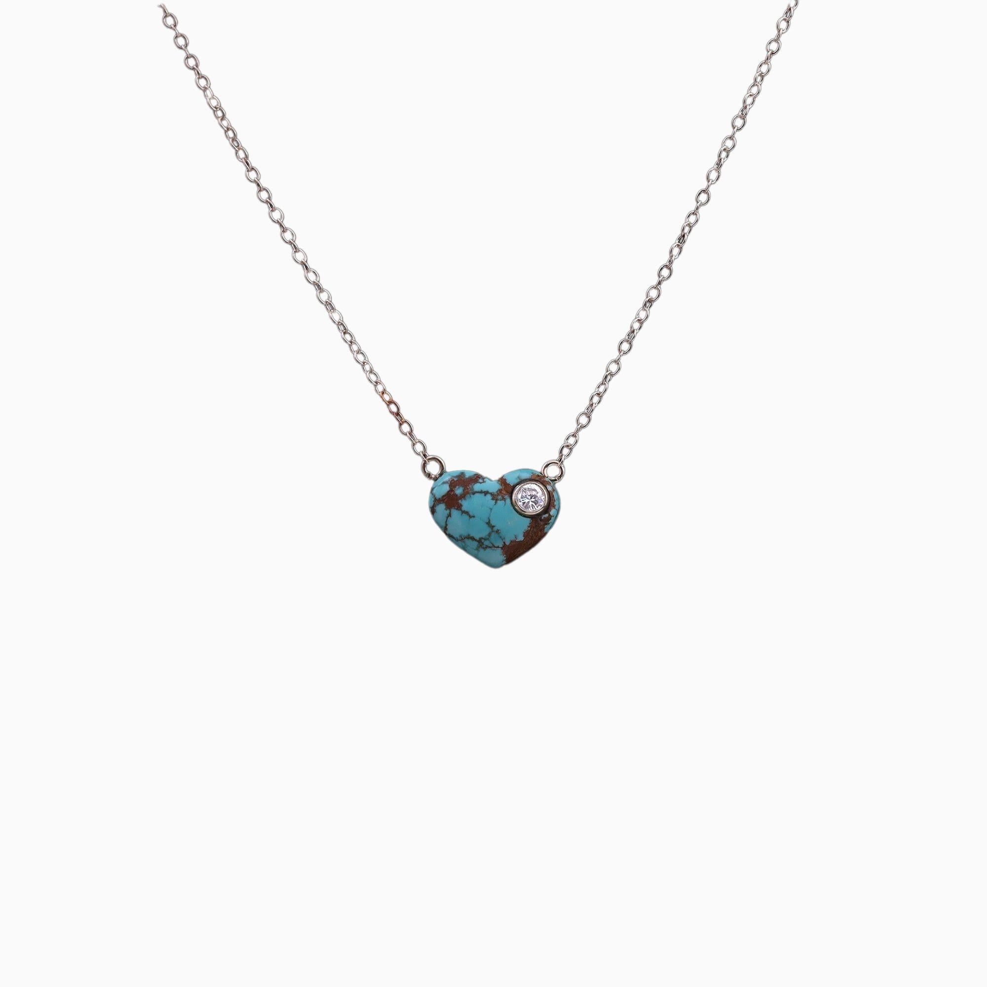 Tranquil Blues Turquoise Heart & Diamond Pendant