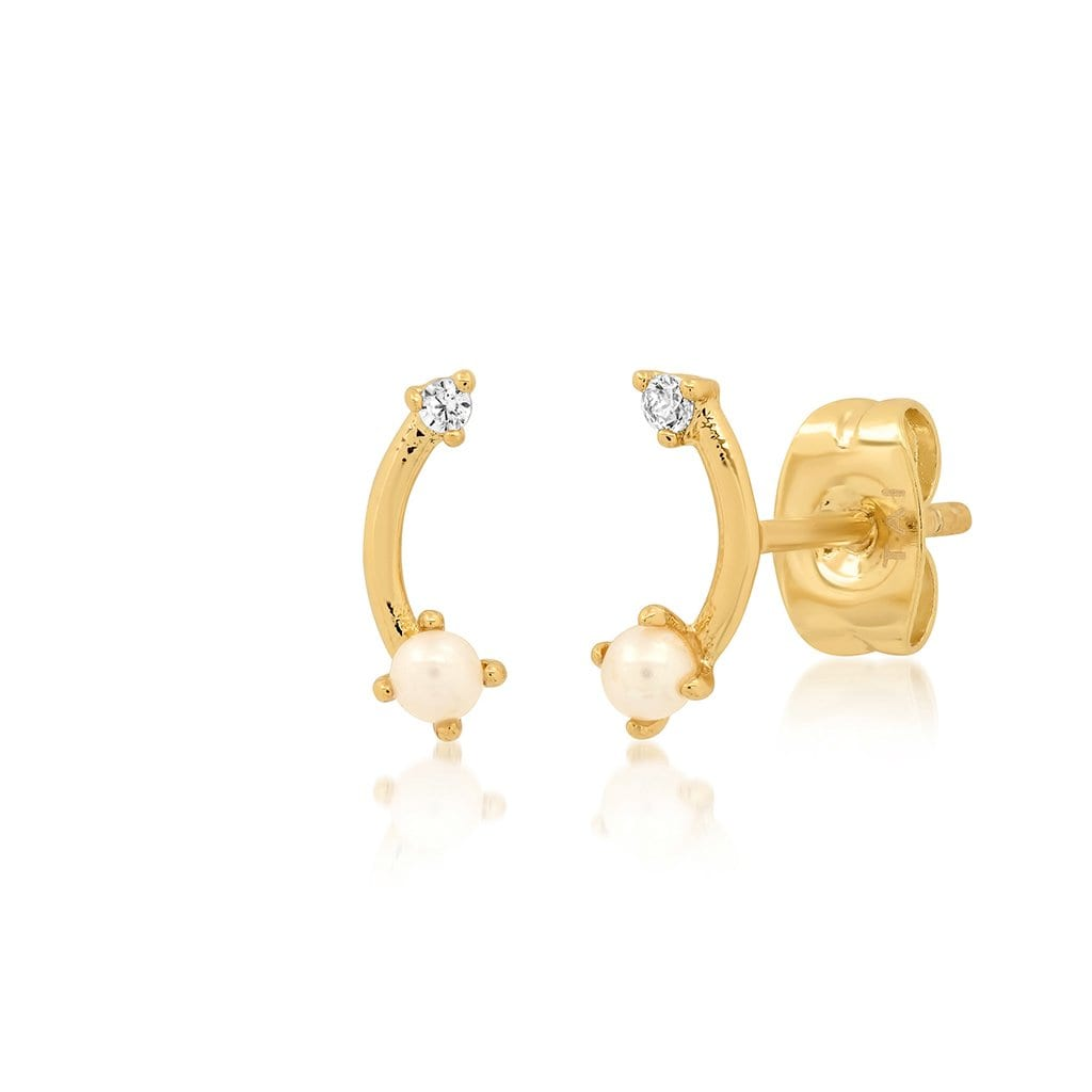 Vincents Fine Jewelry | TAI Jewelry | Arc bar pearl & CZ studs