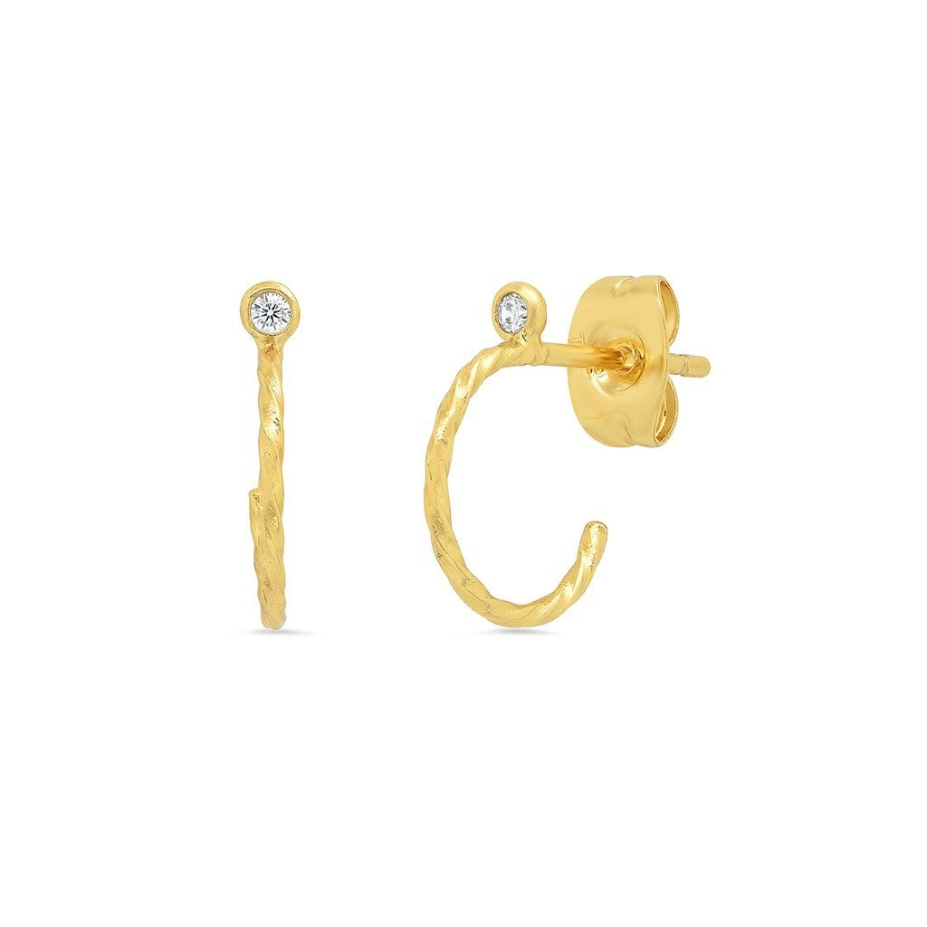 Vincents Fine Jewelry | TAI Jewelry | Hammered CZ hoop studs
