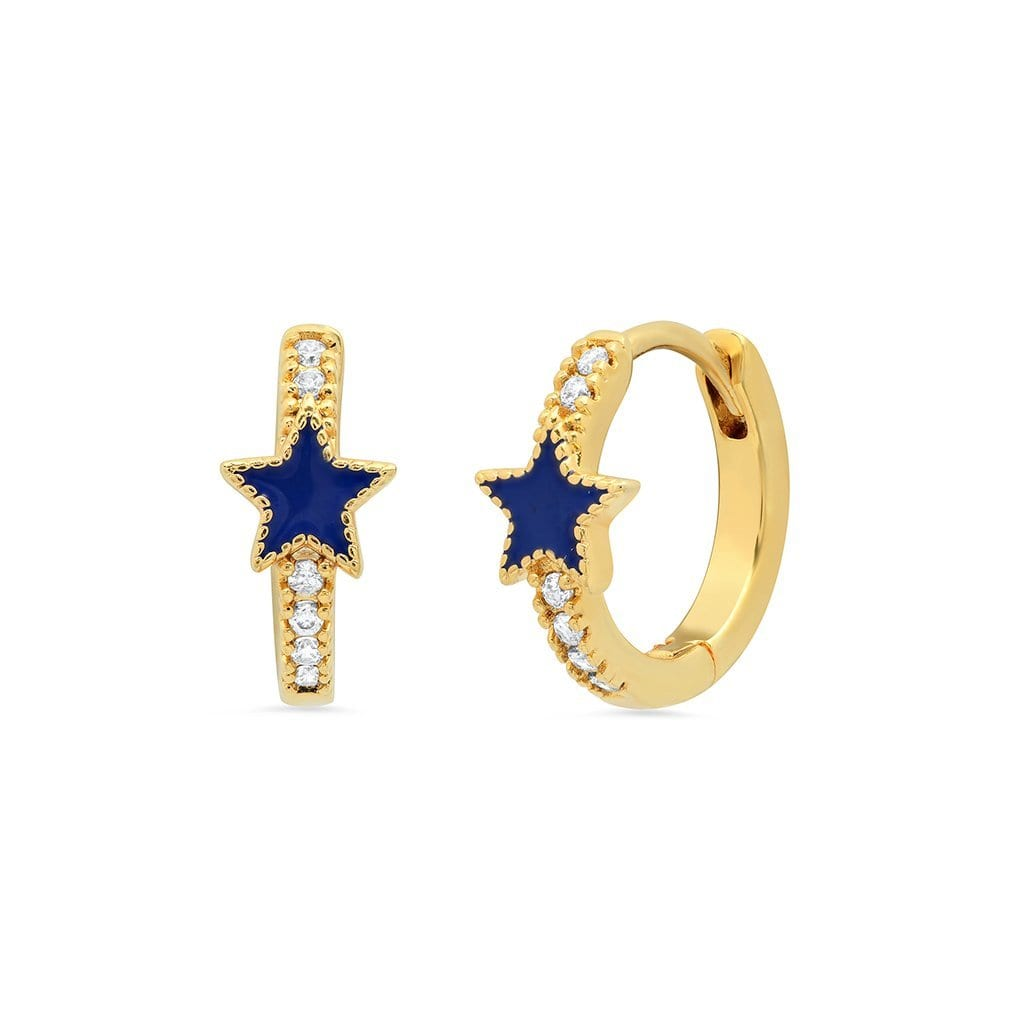 Vincents Fine Jewelry | TAI Jewelry | Blue enamel & CZ star huggies