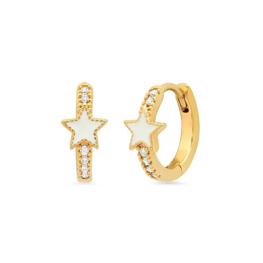 Vincents Fine Jewelry | TAI Jewelry | White enamel & CZ star huggies