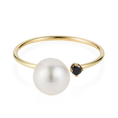 Vincents Fine Jewlery | Sweet Pea | Open Pearl & Diamond Ring