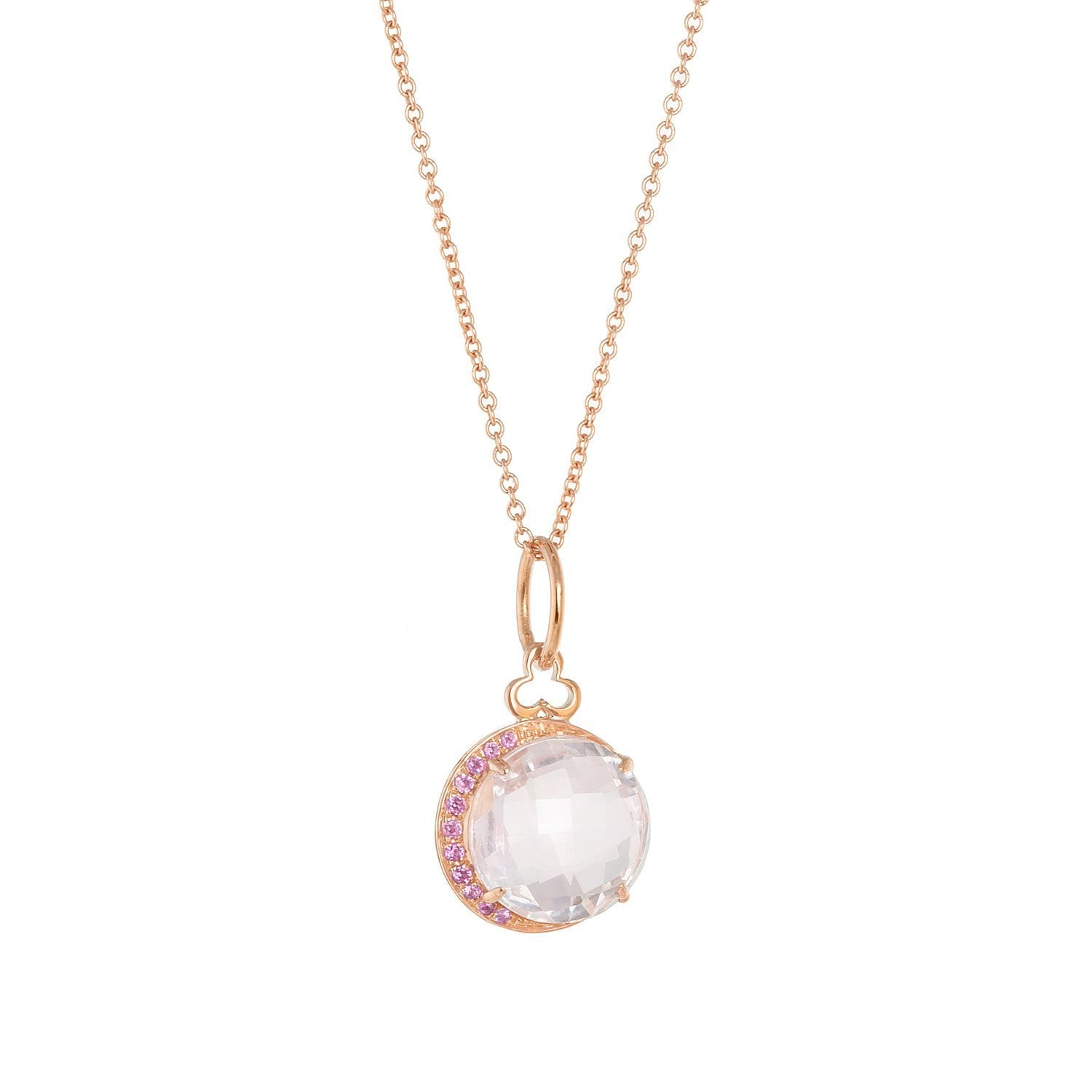 Devon Woodhill | Moon Charm Necklace | Rosr Quartz & Pink Sapphire Necklace