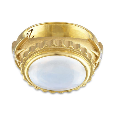 Moonstone Ring with Star Detail and Diamonds