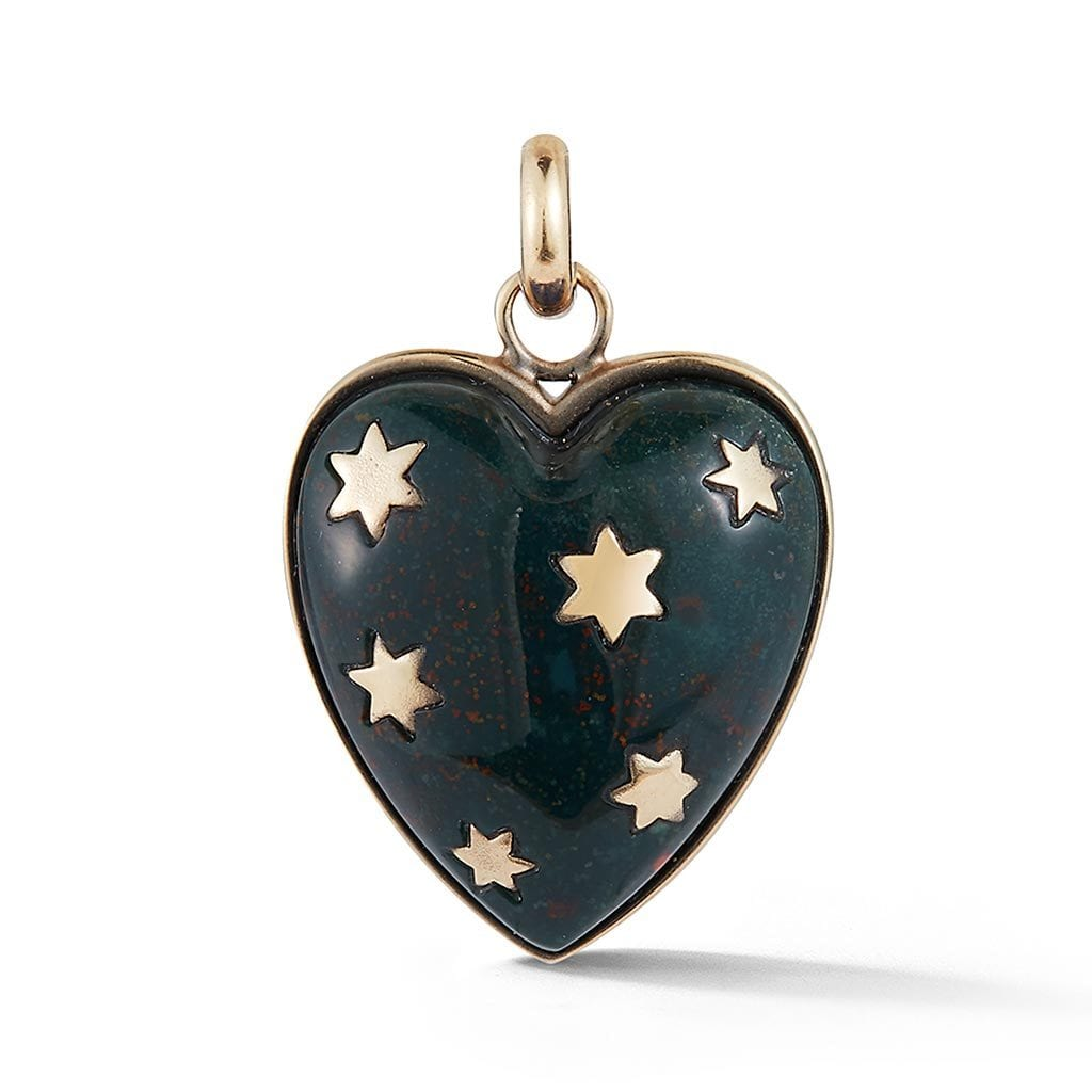 Heart Green Bloodstone Charm