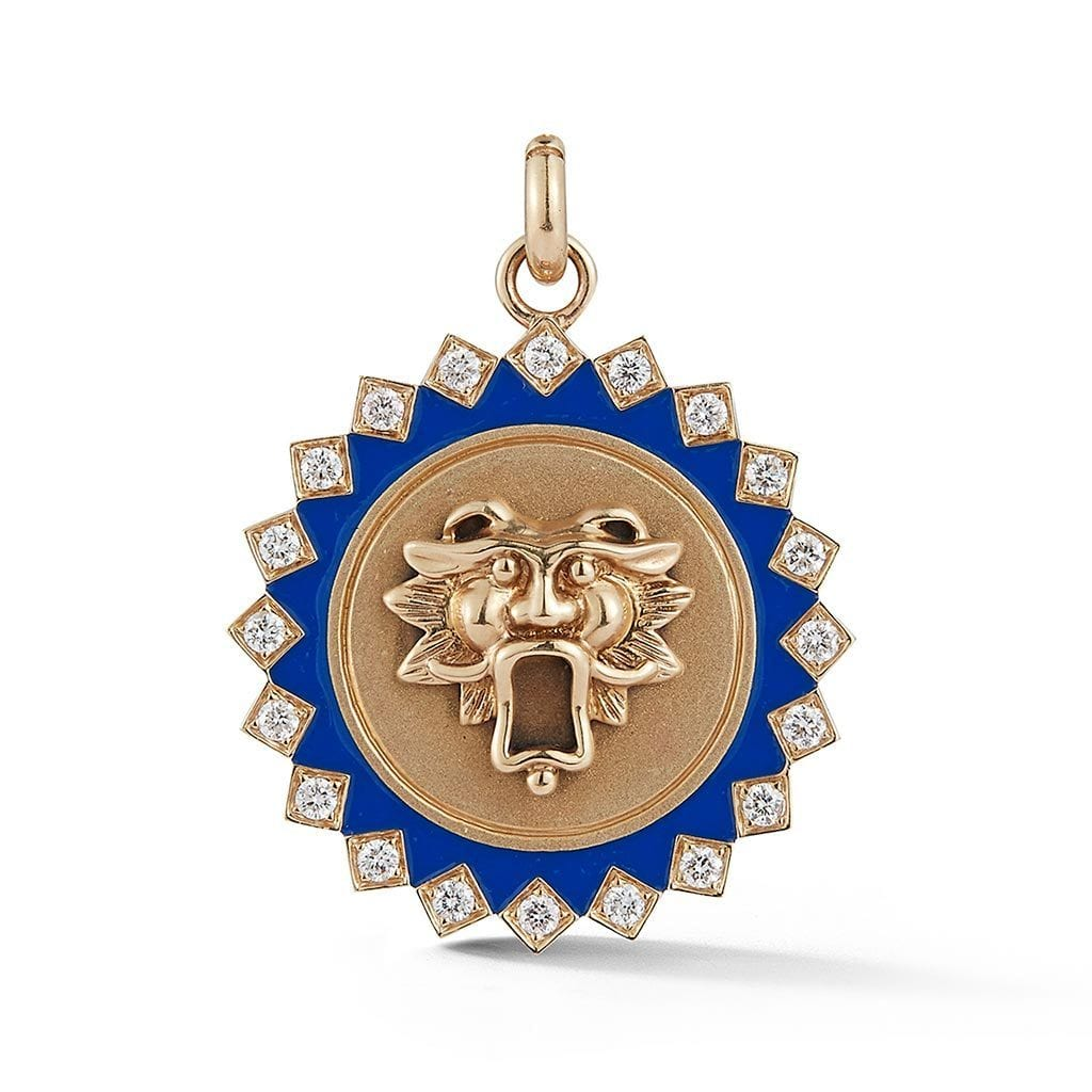 Blue Enamel & Diamond Guardian Lion Medallion