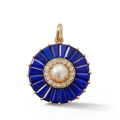 Vincents Fine Jewelry | Storrow Jewelry | Circle Lapis & Diamond Charm