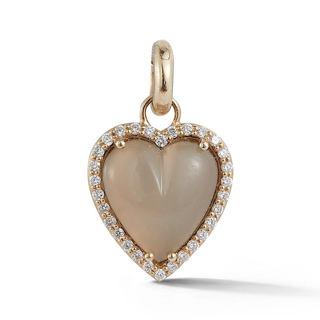 Heart Moonstone & Diamond Charm