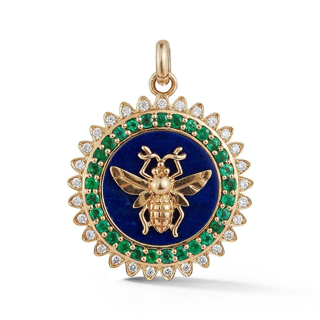 Vincents Fine Jewelry | Storrow Jewelry | Bee Emerald & Lapis Charm