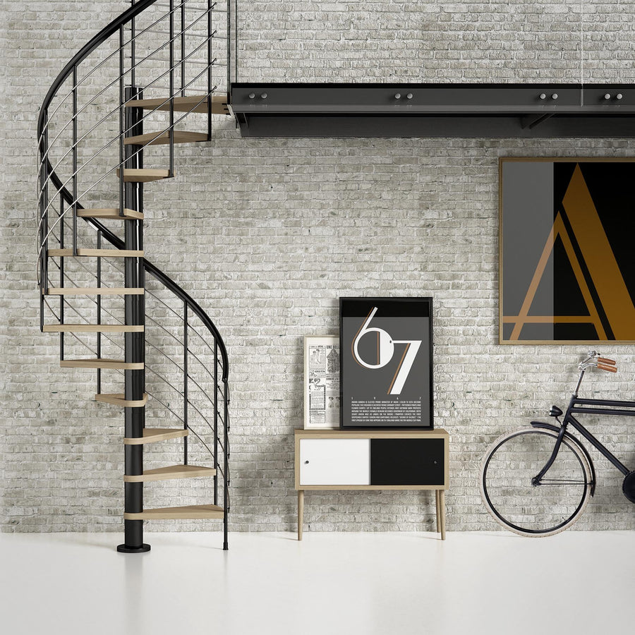 "63"" Montreal Style Spiral Staircase Kit - Anthracite"