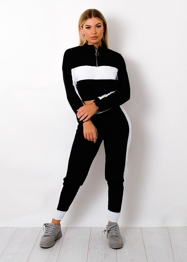 Contrast Panelled Zip Lounge Set-Black