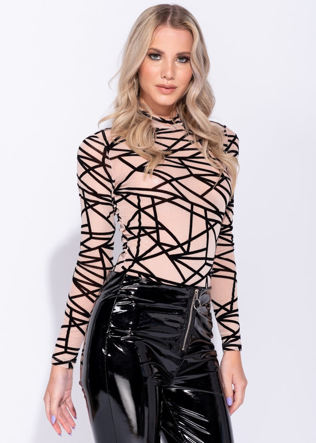 Abstract Print Mesh Bodysuit