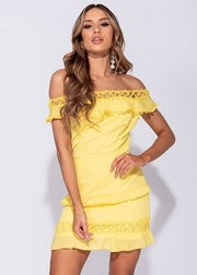 Yellow Bardot Frill Mini Dress